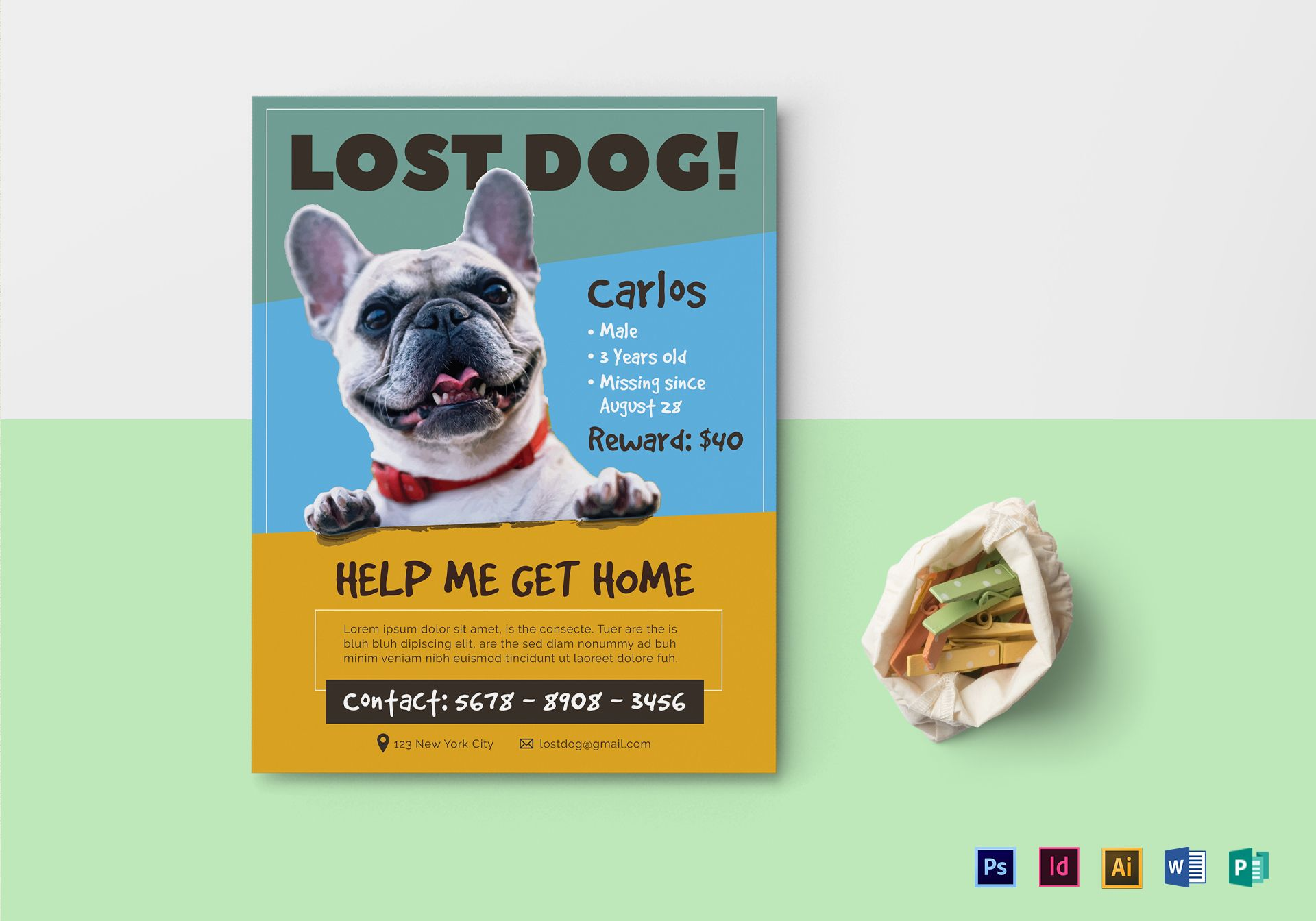 Lost Dog Flyer Design Template in PSD, Word, Publisher, Illustrator ...