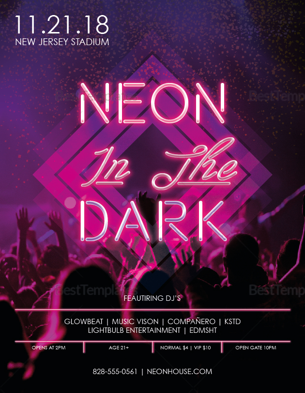 Neon Music Flyer Template to Print