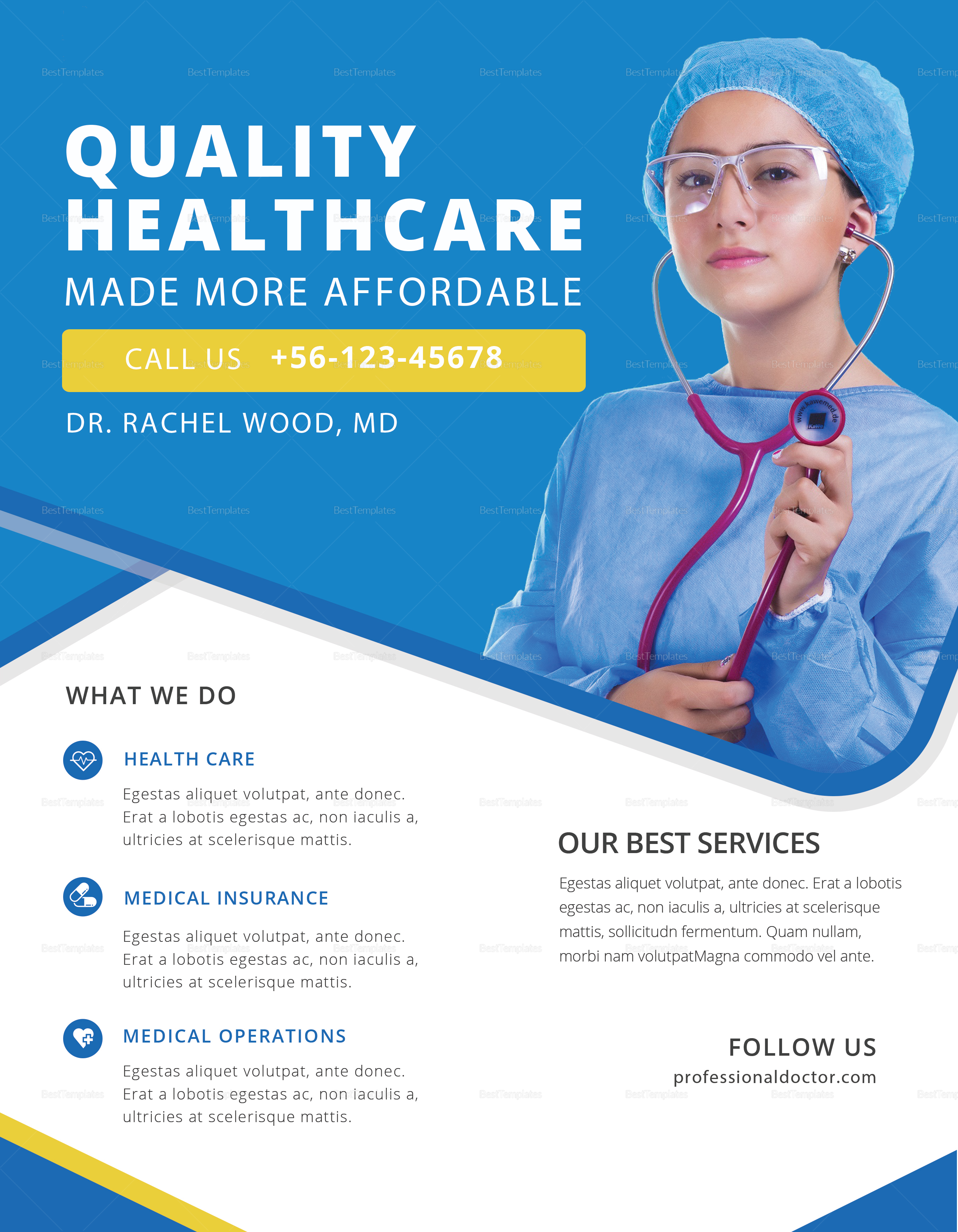 Professional Doctor Health Flyer Design Template In Psd Word