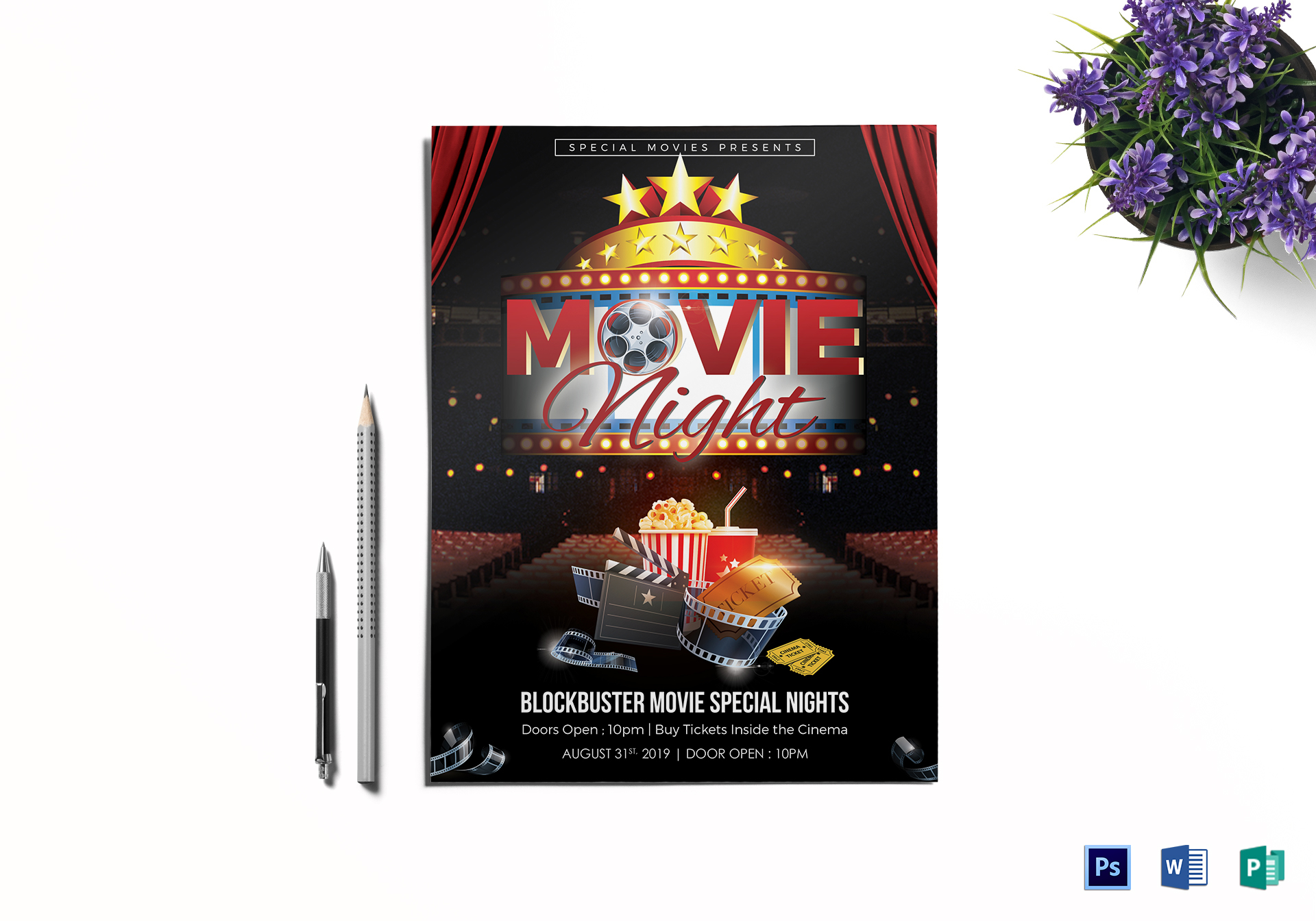 Printable Movie Night Flyer Design Template In Word Psd Publisher
