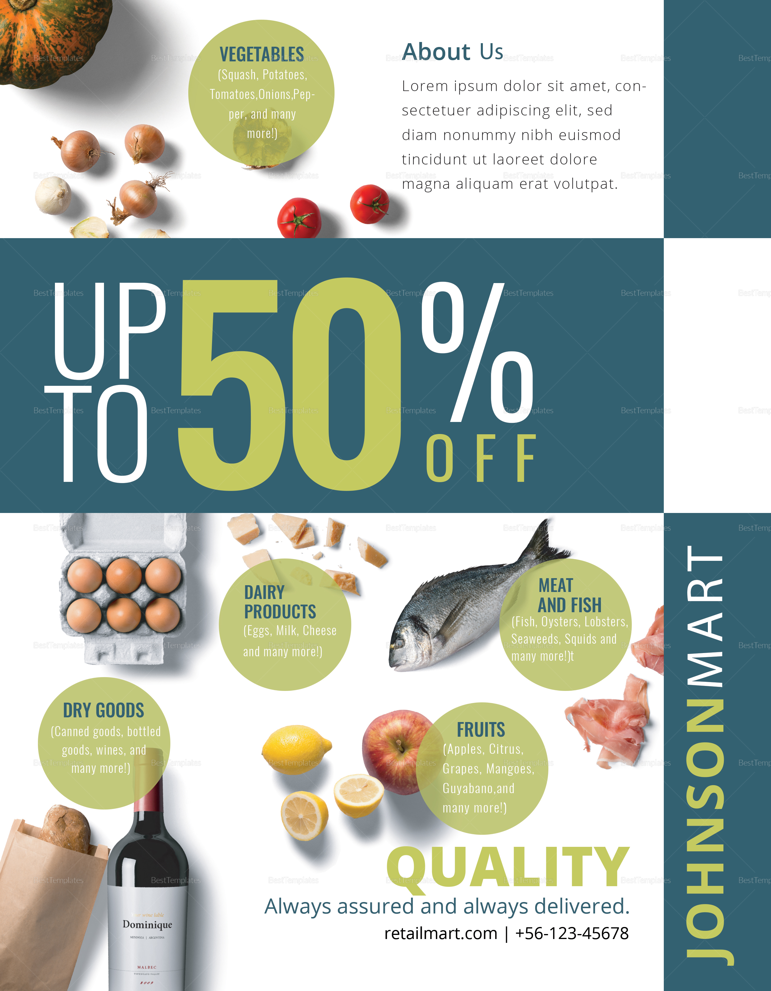 retail mart flyer design template in psd  word  publisher