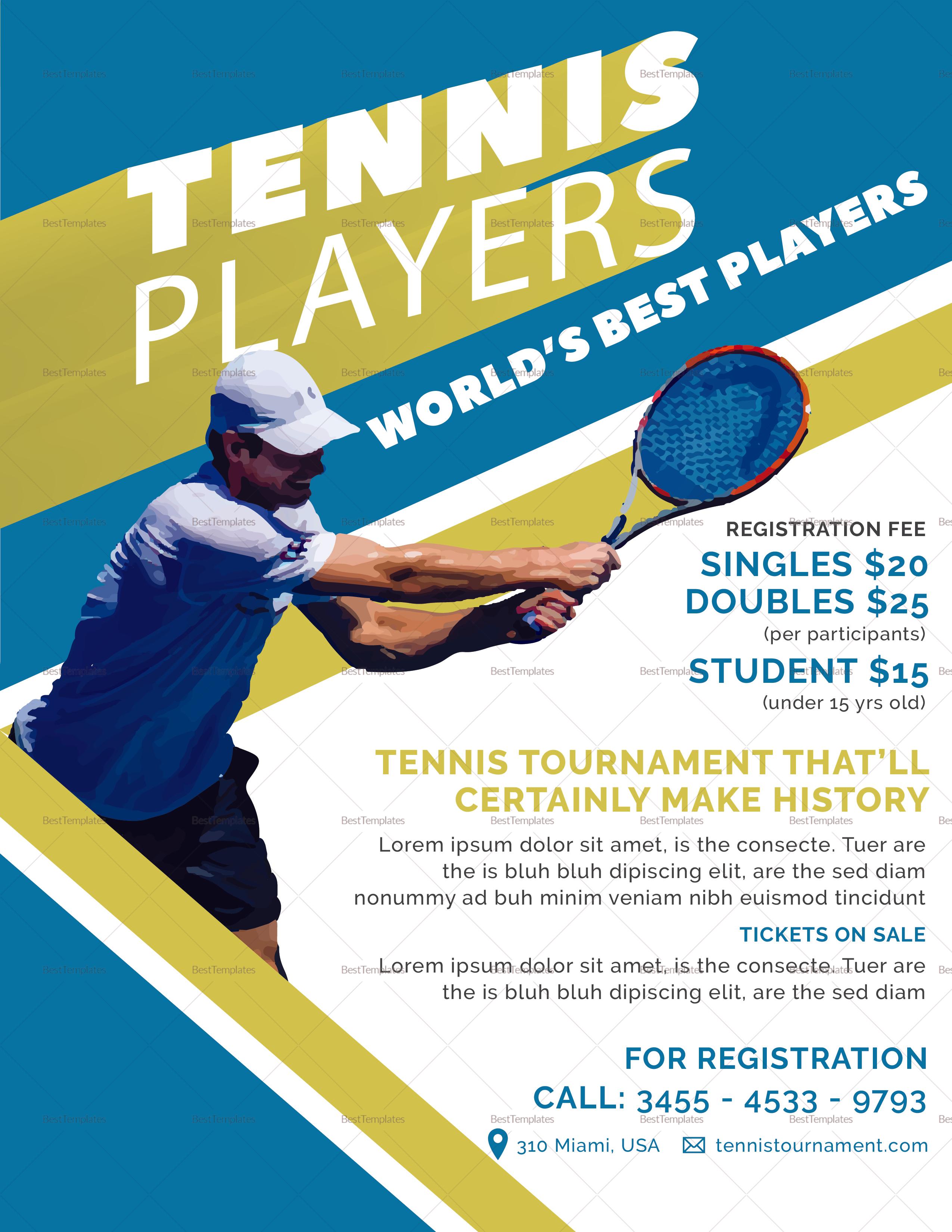 Sample Tennis Player Flyer