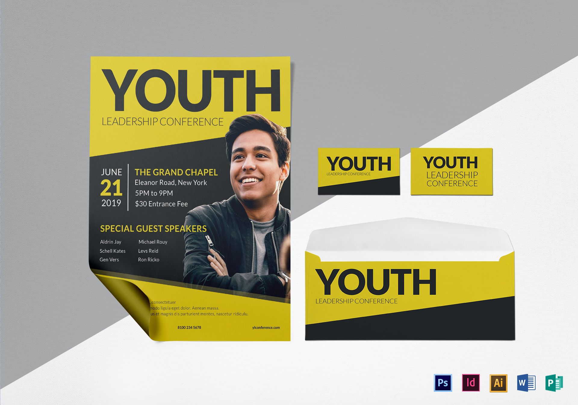 young leadership conference flyer design template in psd word