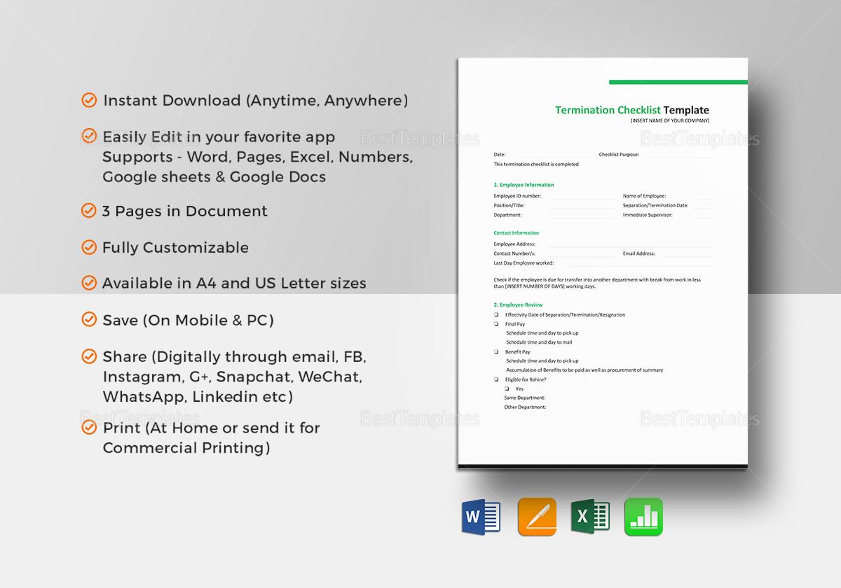 Termination Checklist Template