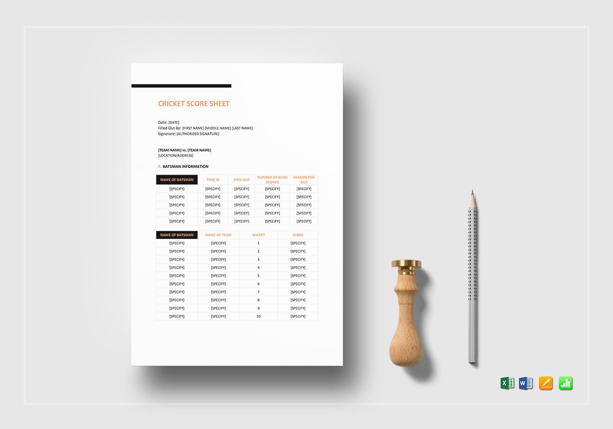 Cricket Score Sheet Template