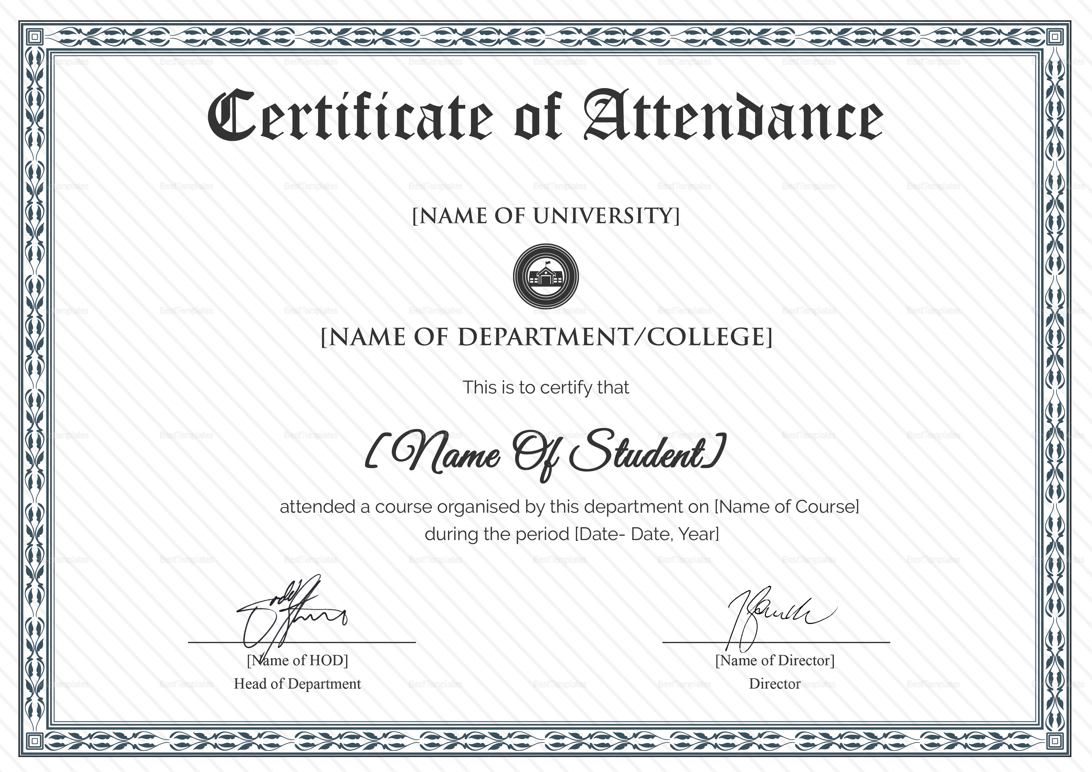 college students attendance certificate design template in psd word