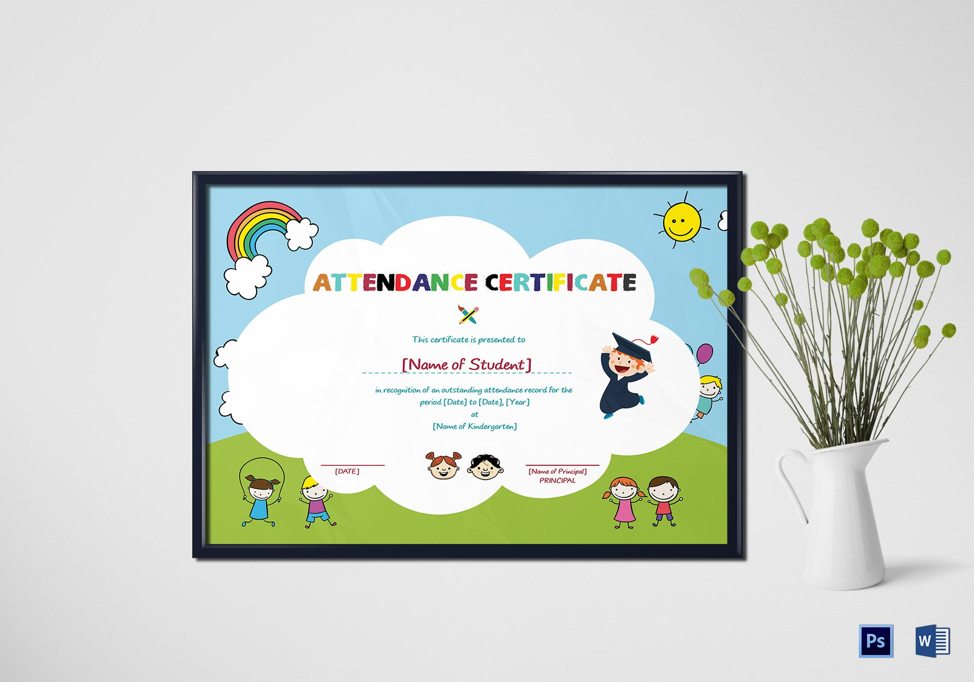 School students attendance certificate design template in psd word school students attendance certificate yadclub Gallery