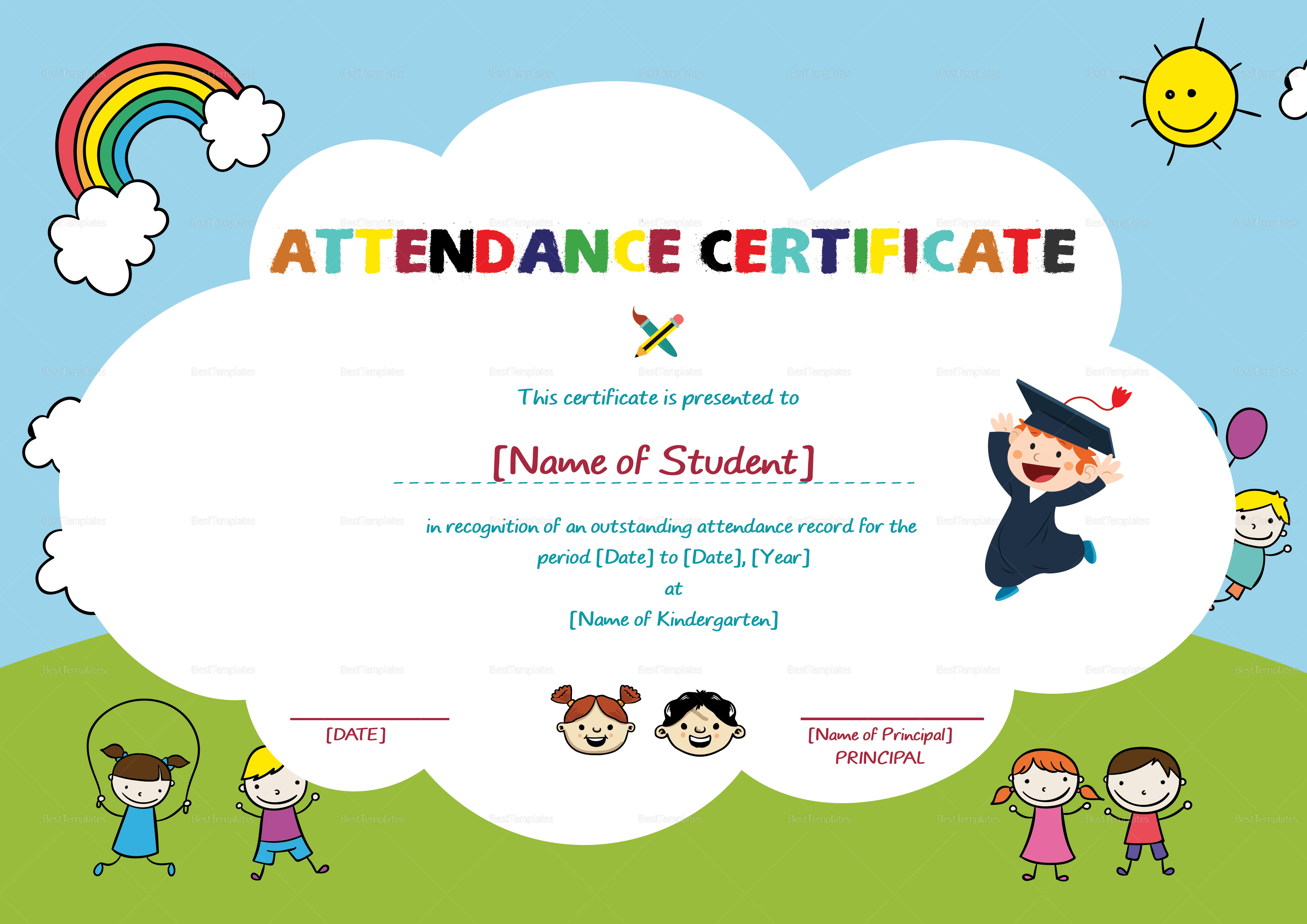 School Students Attendance Certificate Design Template In Psd Word