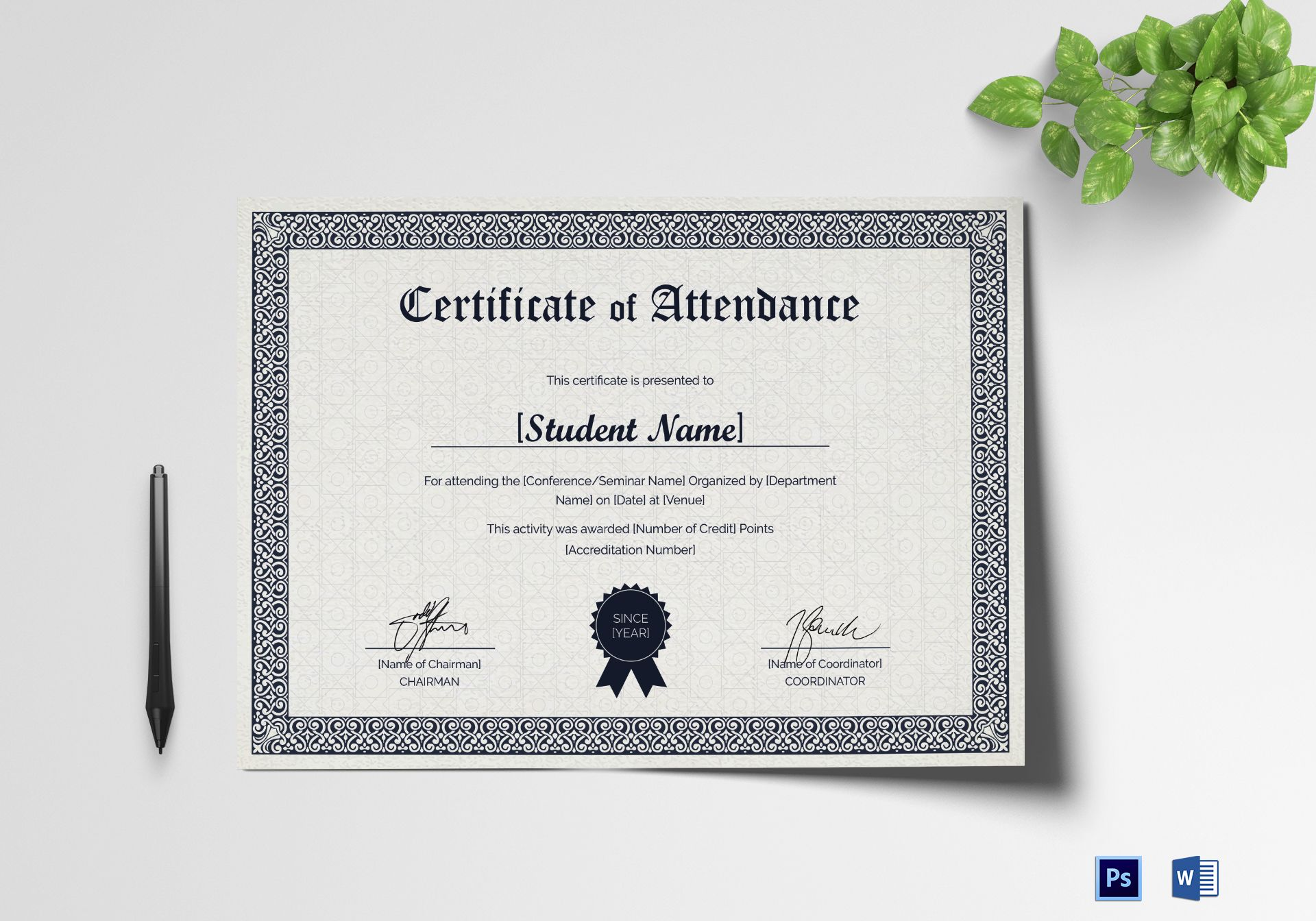 Students Attendance Certificate Design Template In Psd Word