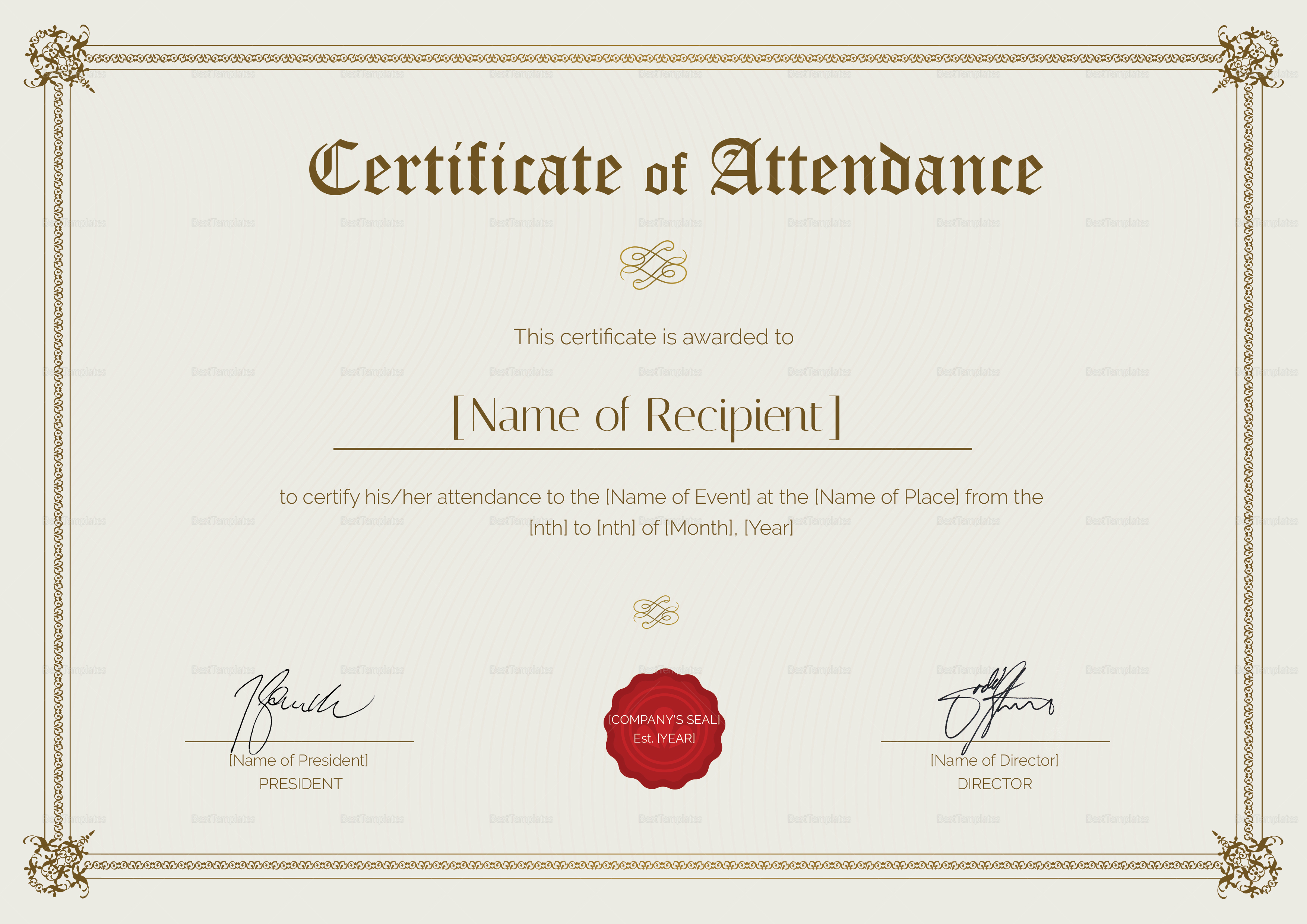 Certificate Of Attendance Design Template In Psd Word