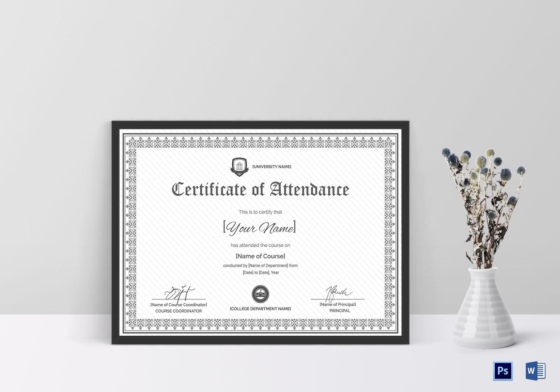 Course Attendance Certificate Design Template In Psd Word