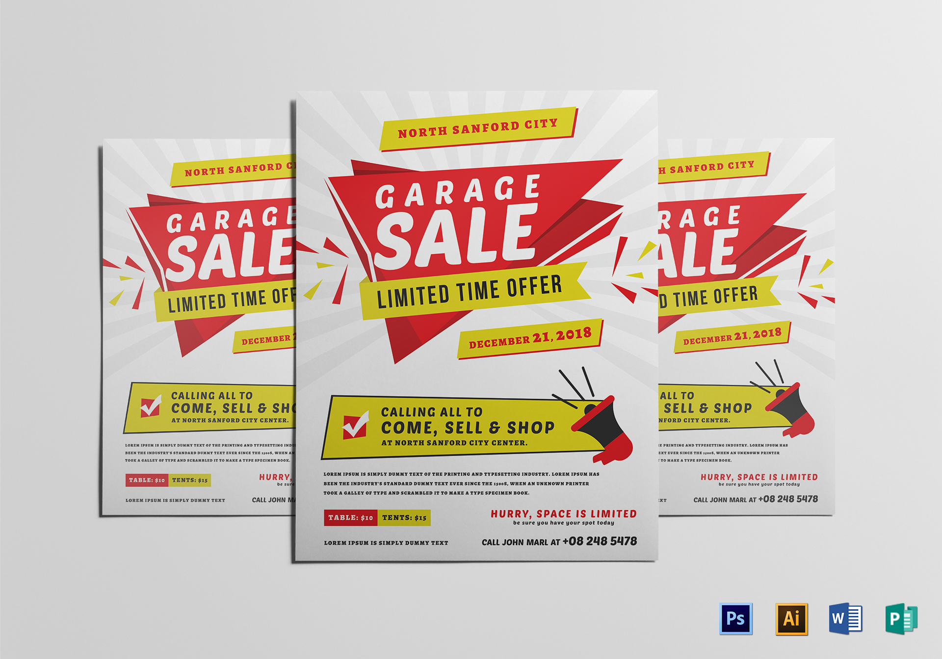 Modern Yard Sale Flyer Design Template in Word, PSD, Publisher ...