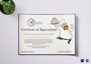 Appreciation certificate designs templates in word psd catering thank you certificate template yelopaper Images
