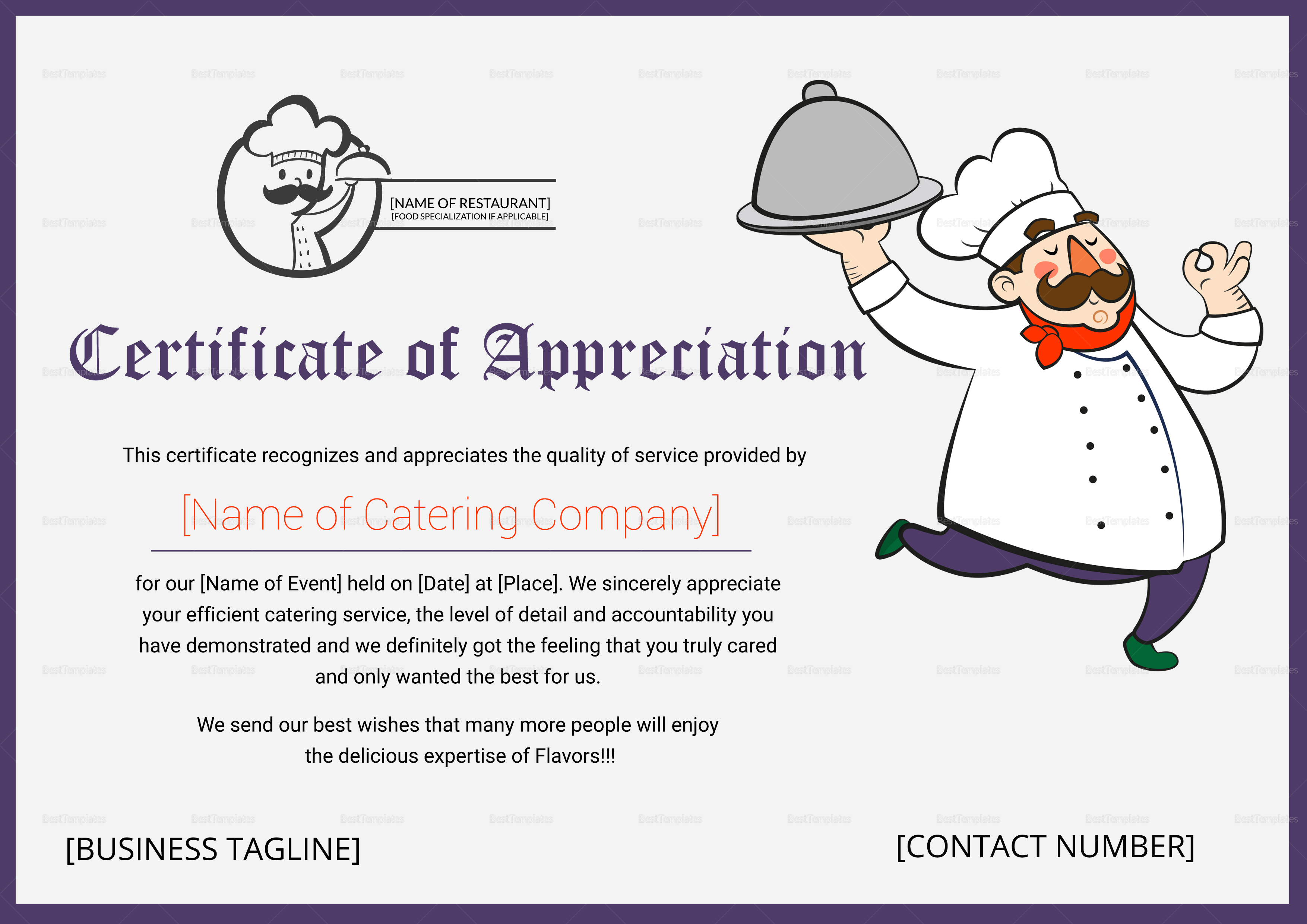 Catering Thank You Certificate