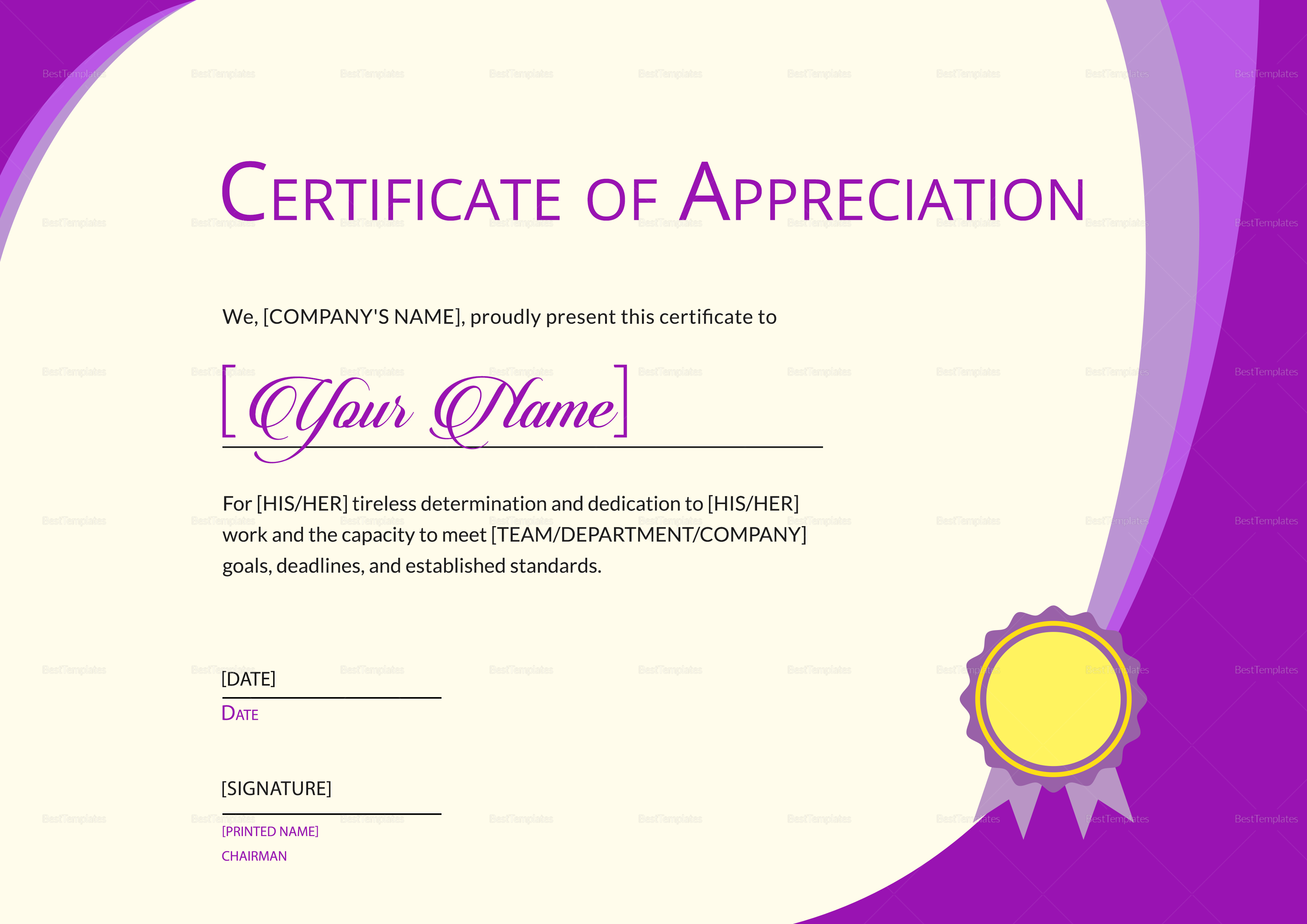 ... Expression Of Thank You Certificate