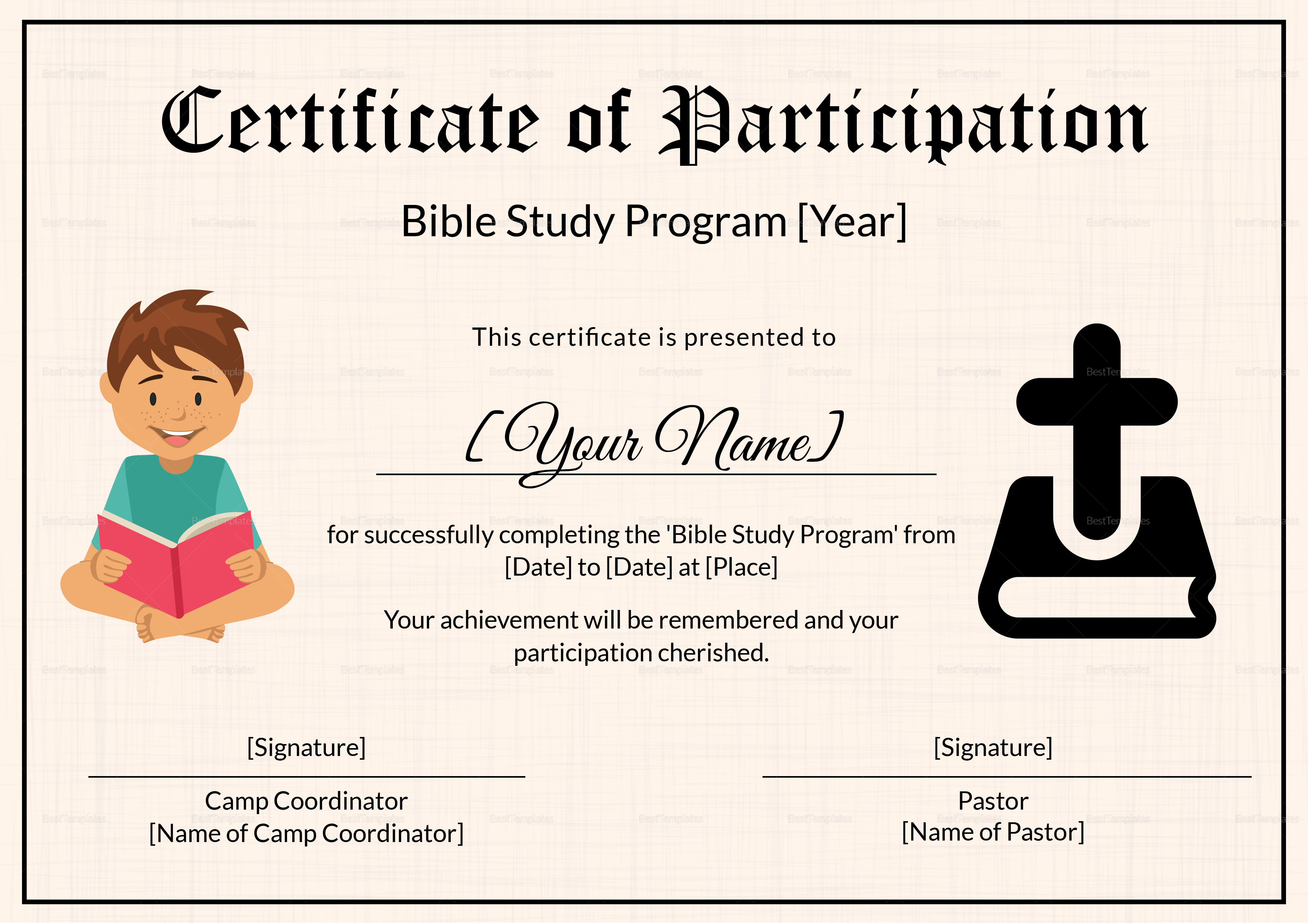 Bible prophecy program certificate for kids design for Certificate template for kids