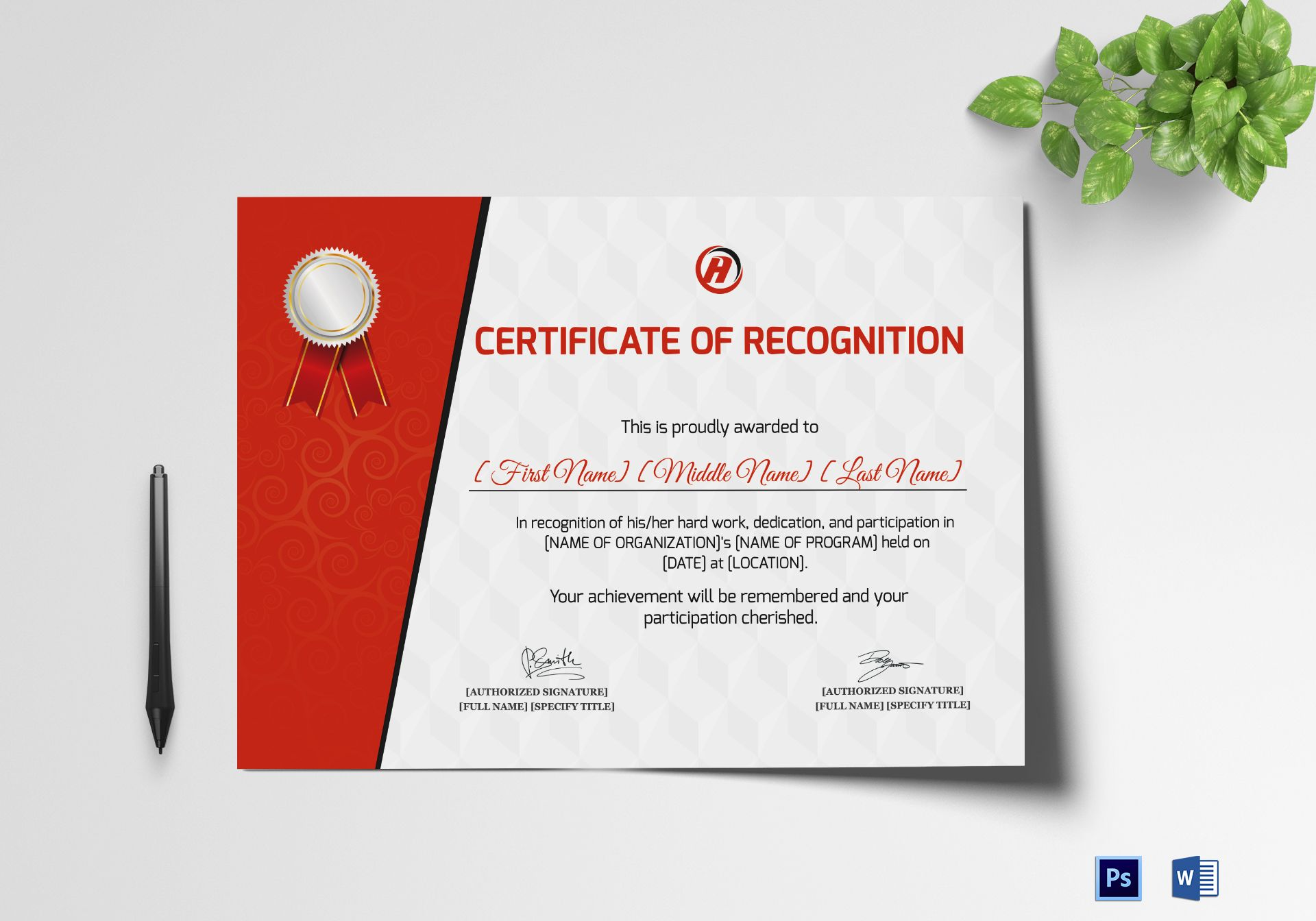 Certificate of Recognition for Dedication