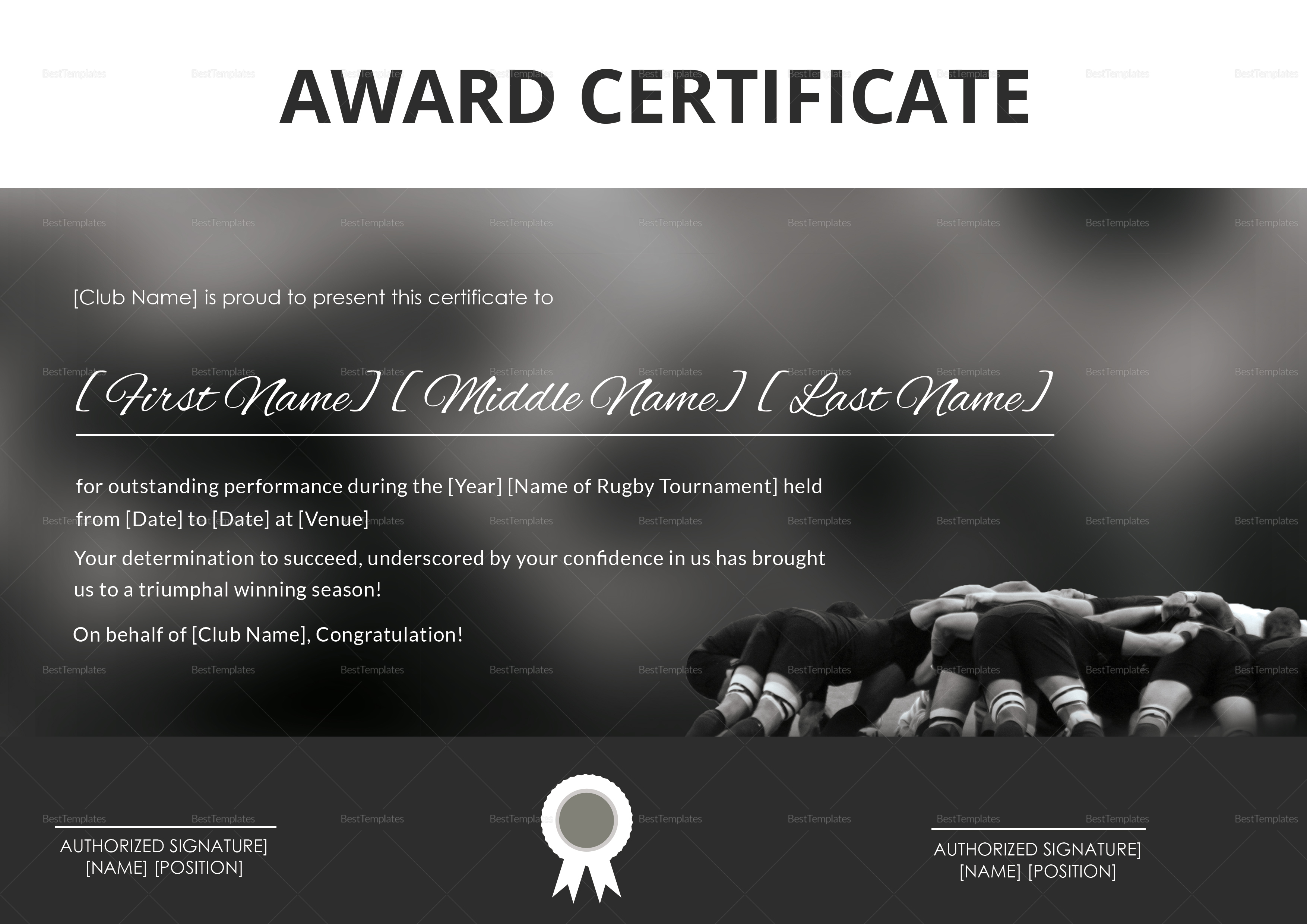 Sample Certificate of Rugby Award