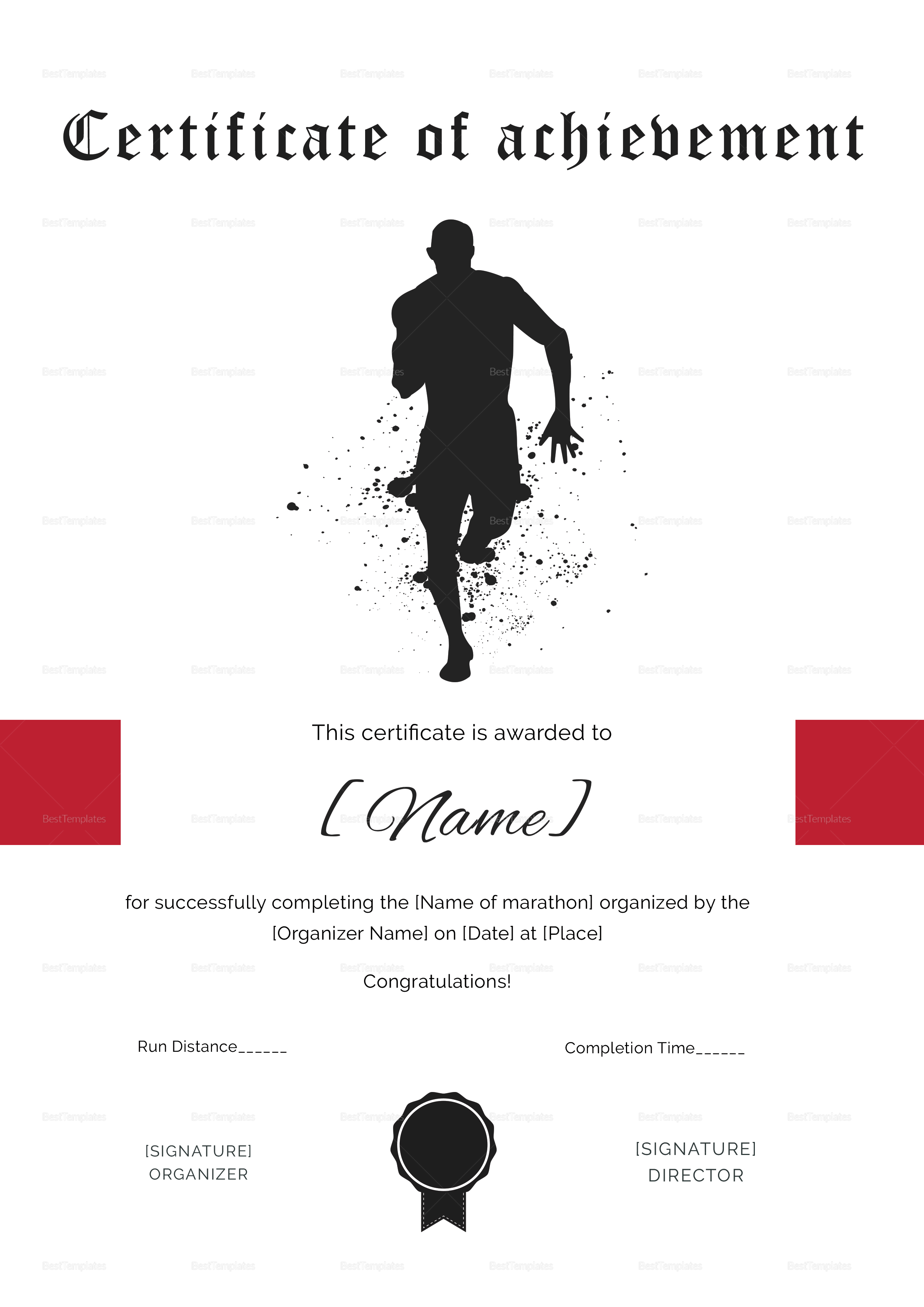 Certificate of Achievement for Running