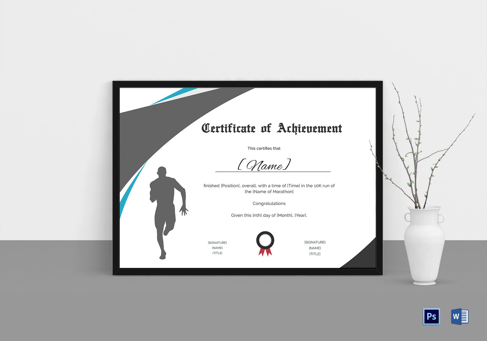 achievement certificate for running template in psd word