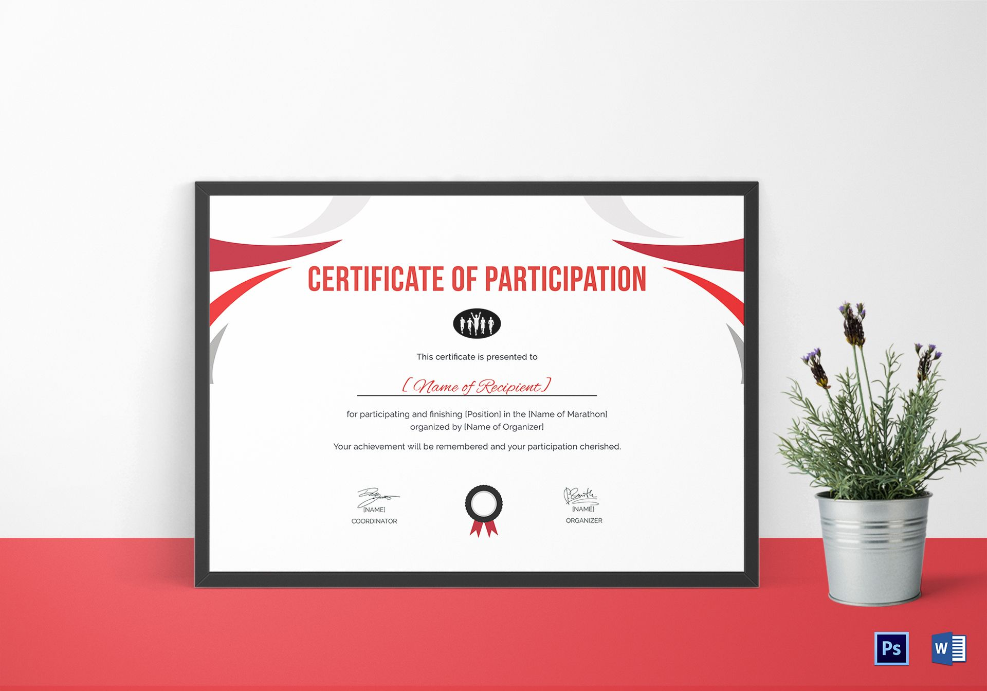 Participation certificate for running template in psd word participation certificate of running yelopaper Image collections