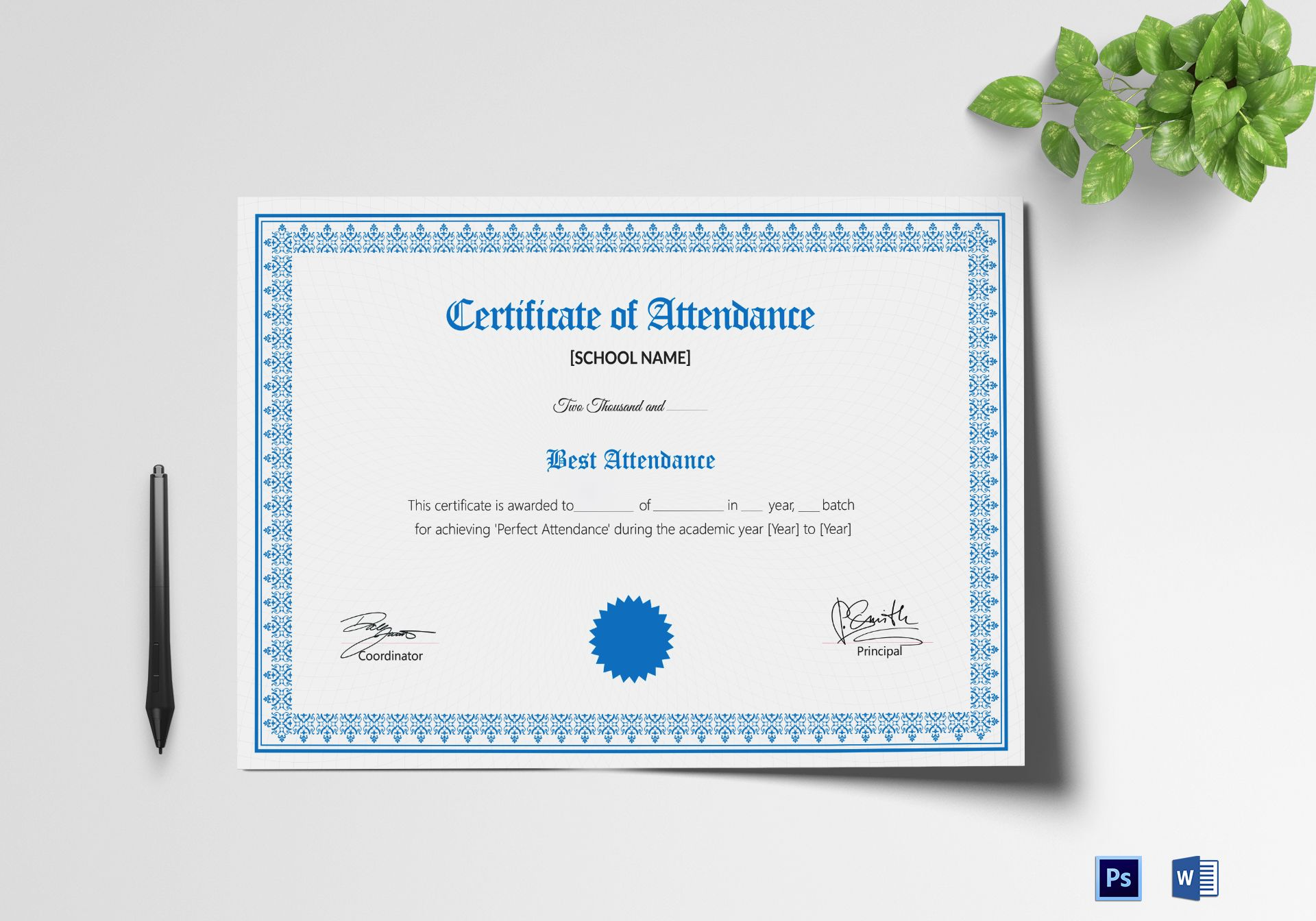 School attendance certificate design template in psd word school attendance certificate template yelopaper Images