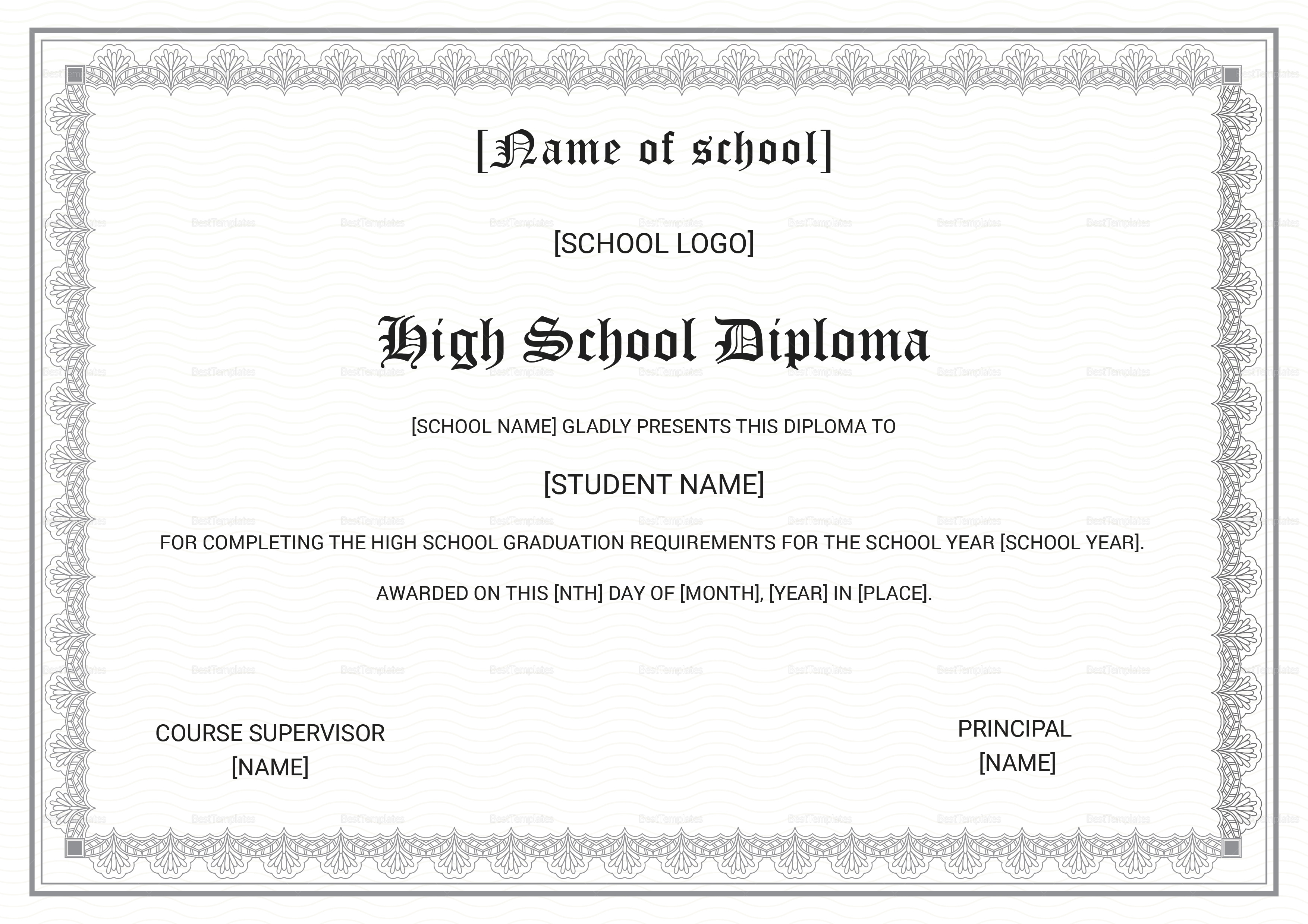Diploma Completion Certificate for High School
