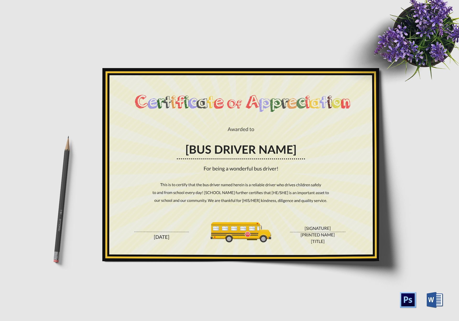 School bus driver thank you certificate design template in psd word school bus driver thank you certificate yadclub Gallery