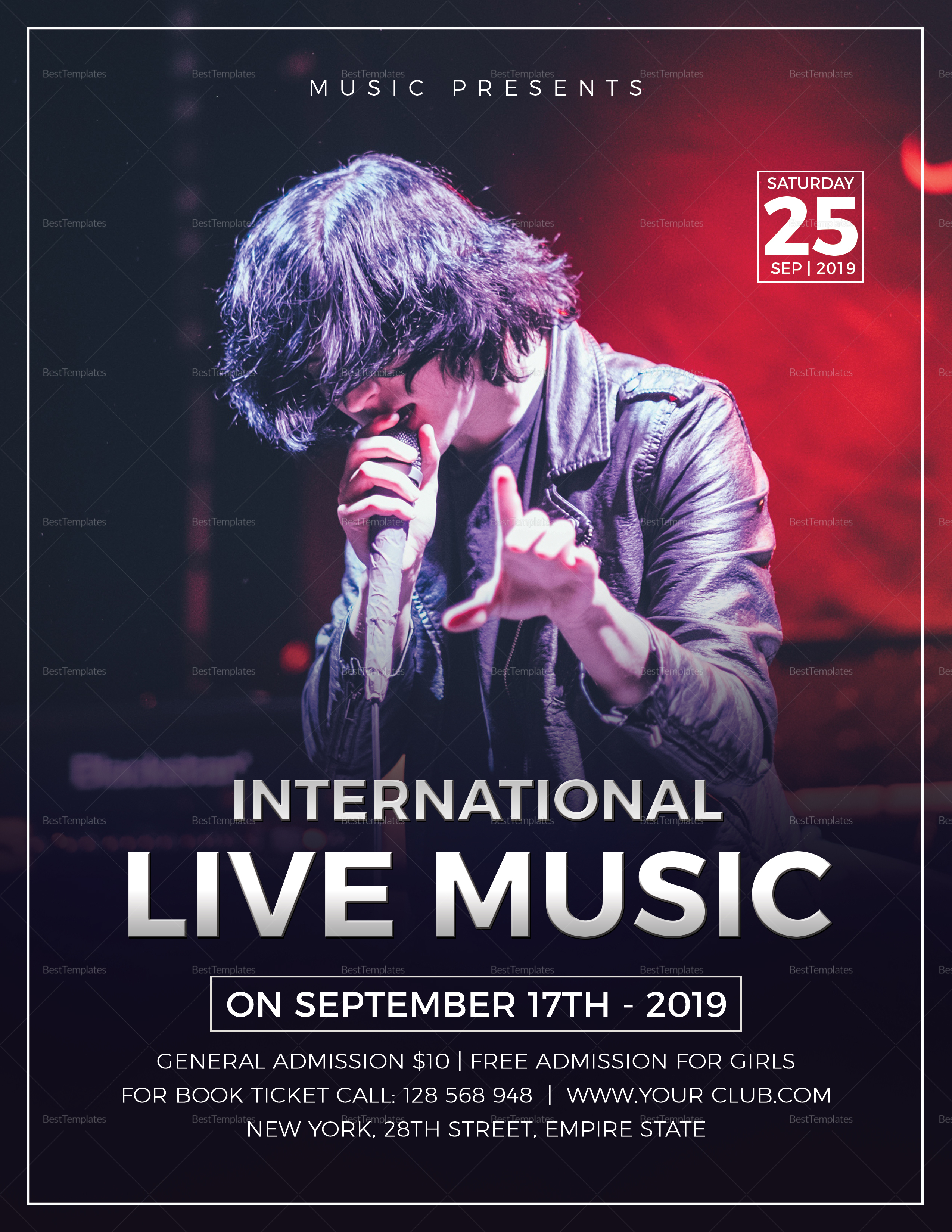 Live Music Concert Flyer Design Template in Word, PSD ...