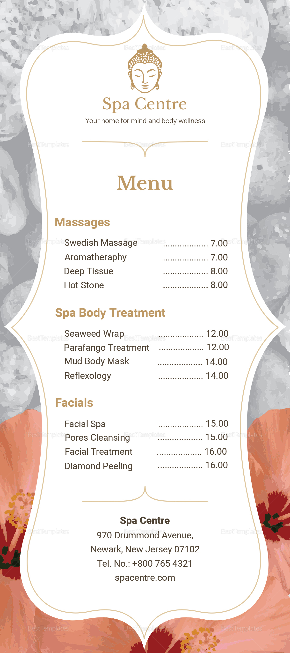 Sample Spa Menu Templates Design Holiday