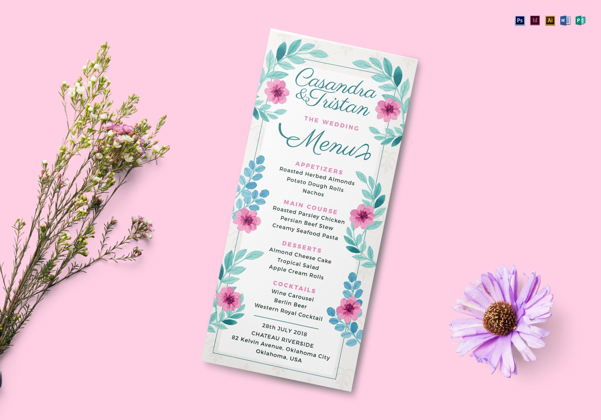 simple wedding menu design template in psd  word