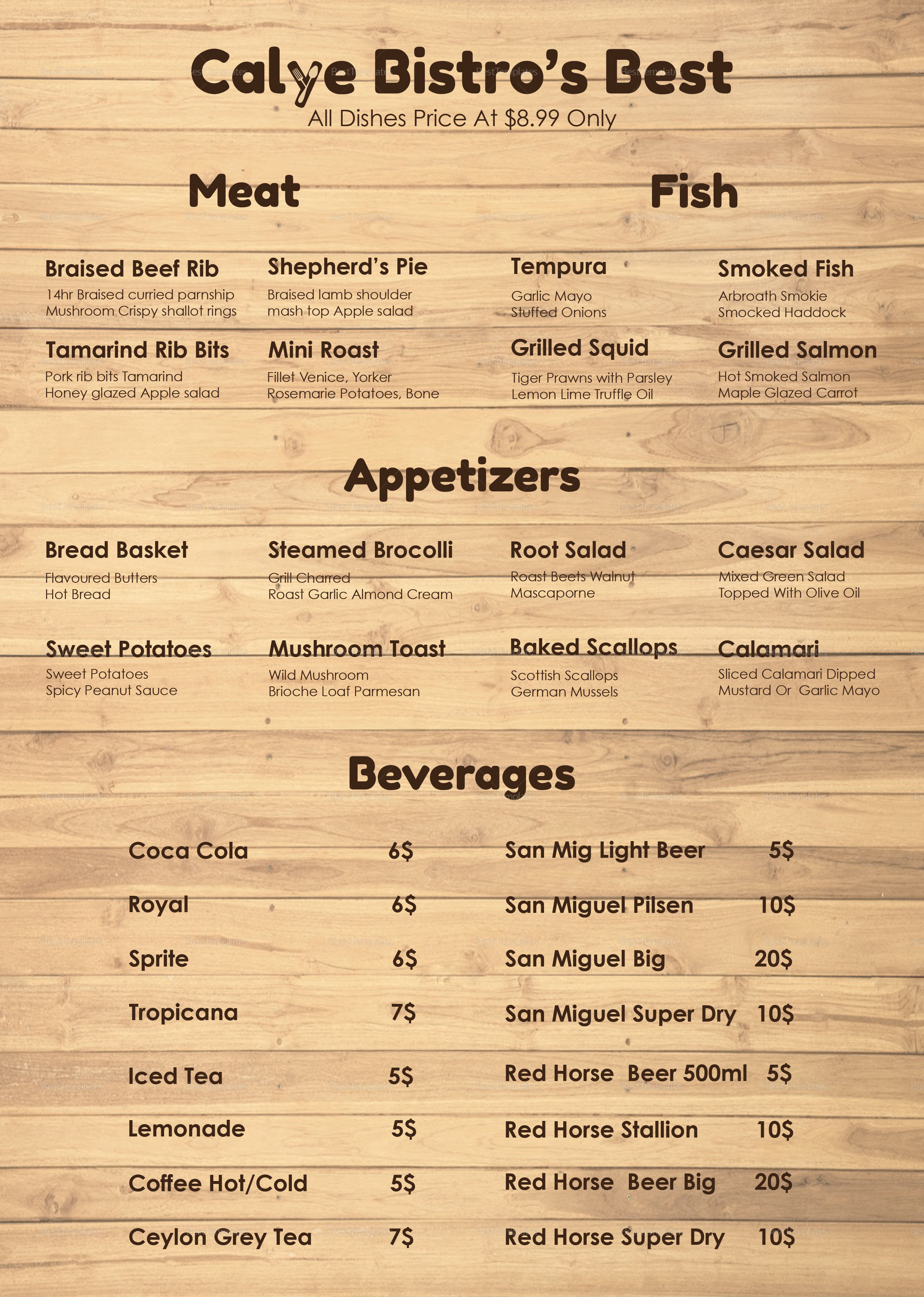 Wooden Style menu Template