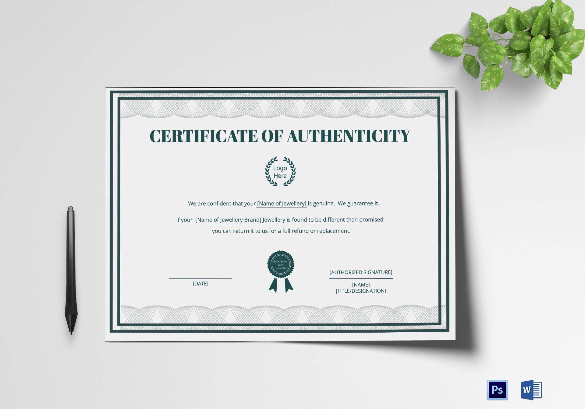 Brand Authenticity Certificate Design Template In Psd Word