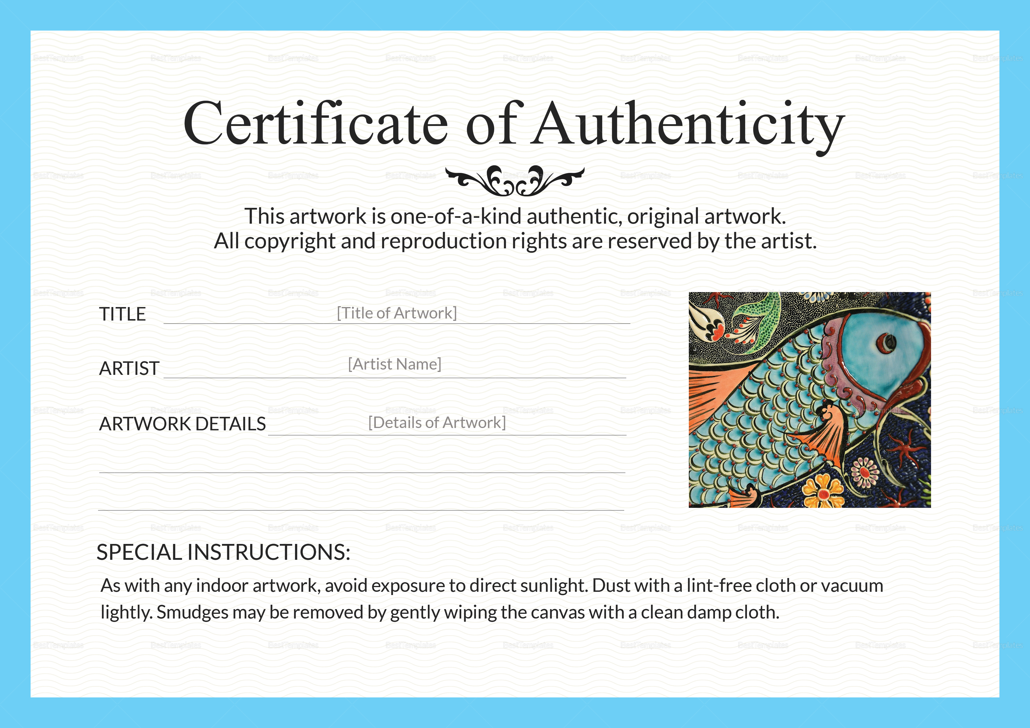 Certificate Of Authenticity Art Template