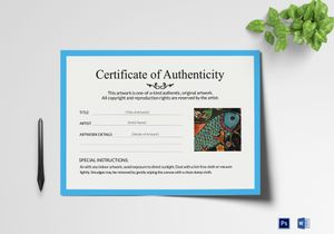 Authenticity certificate templates in photoshop word artwork authenticity certificate template yadclub Image collections