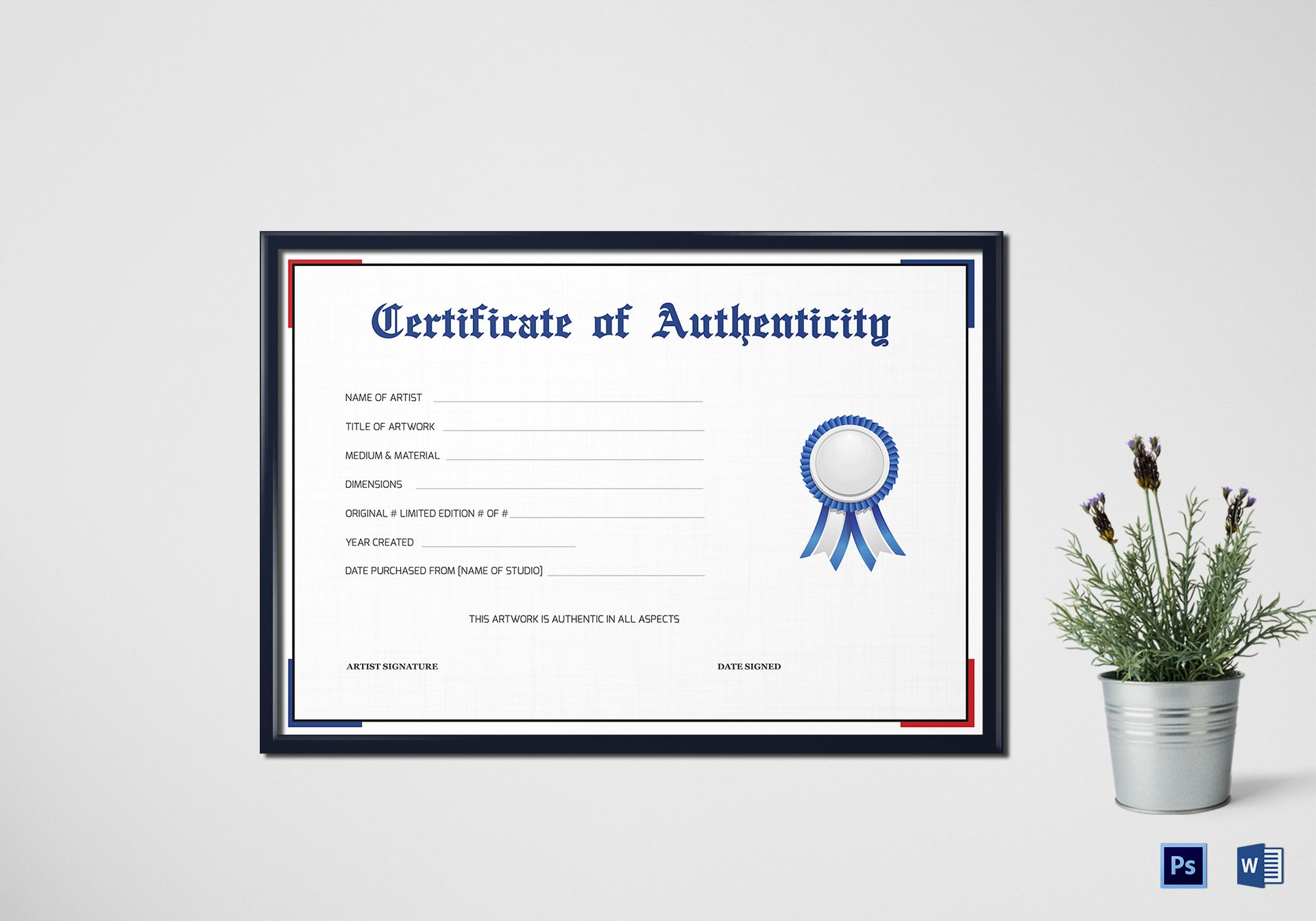 Simple Certificate of Authenticity