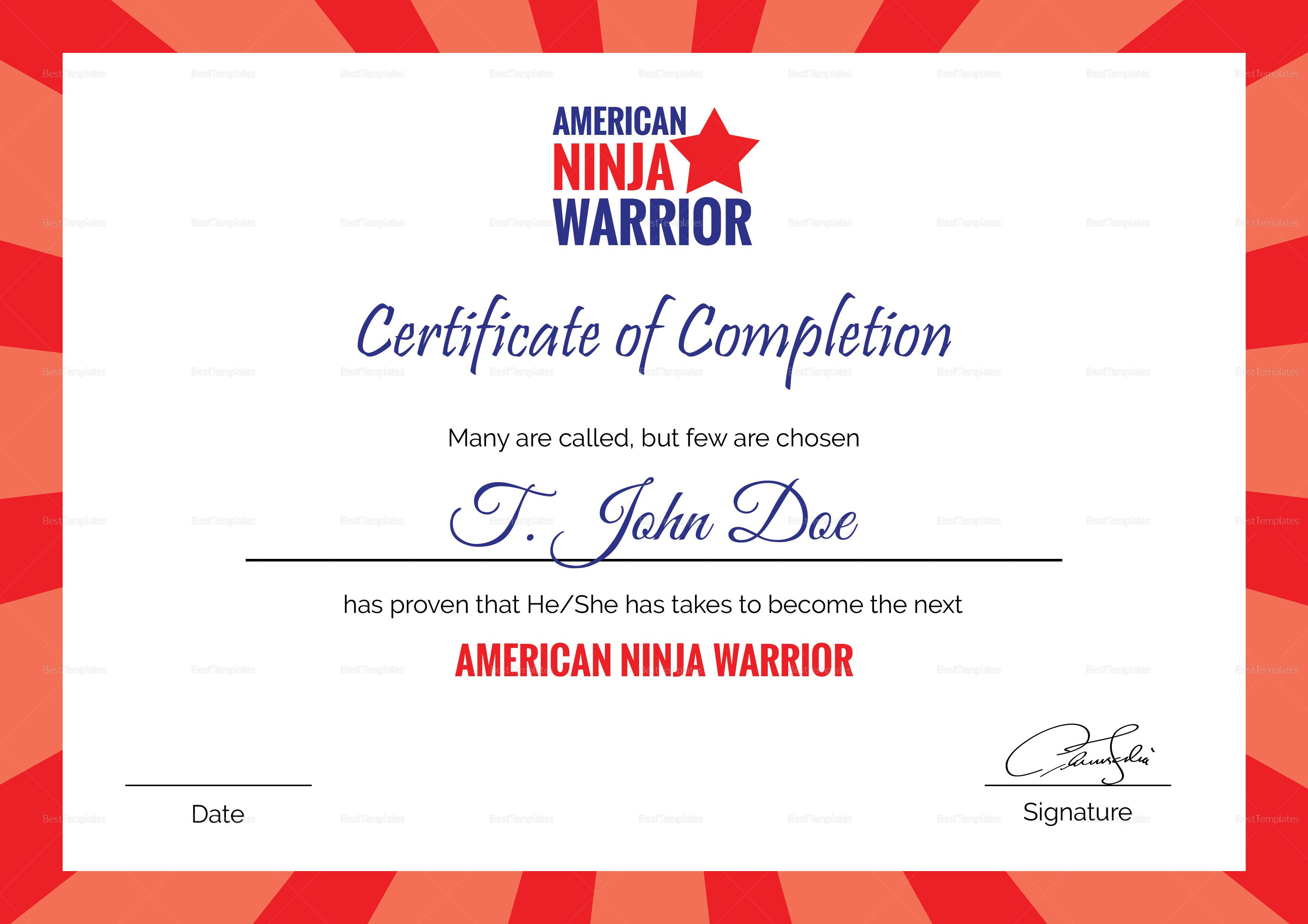 American Ninja Warrior Certificate of Completion