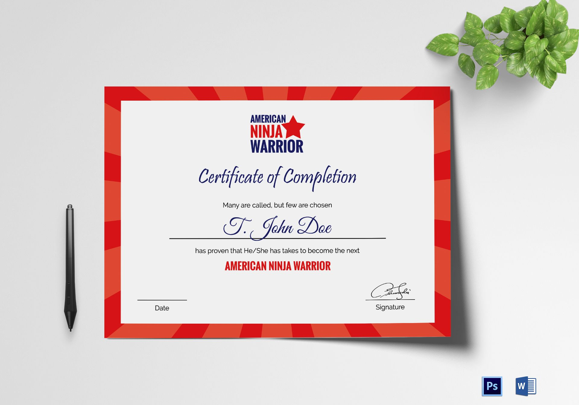 American Ninja Warrior Certificate of Completion