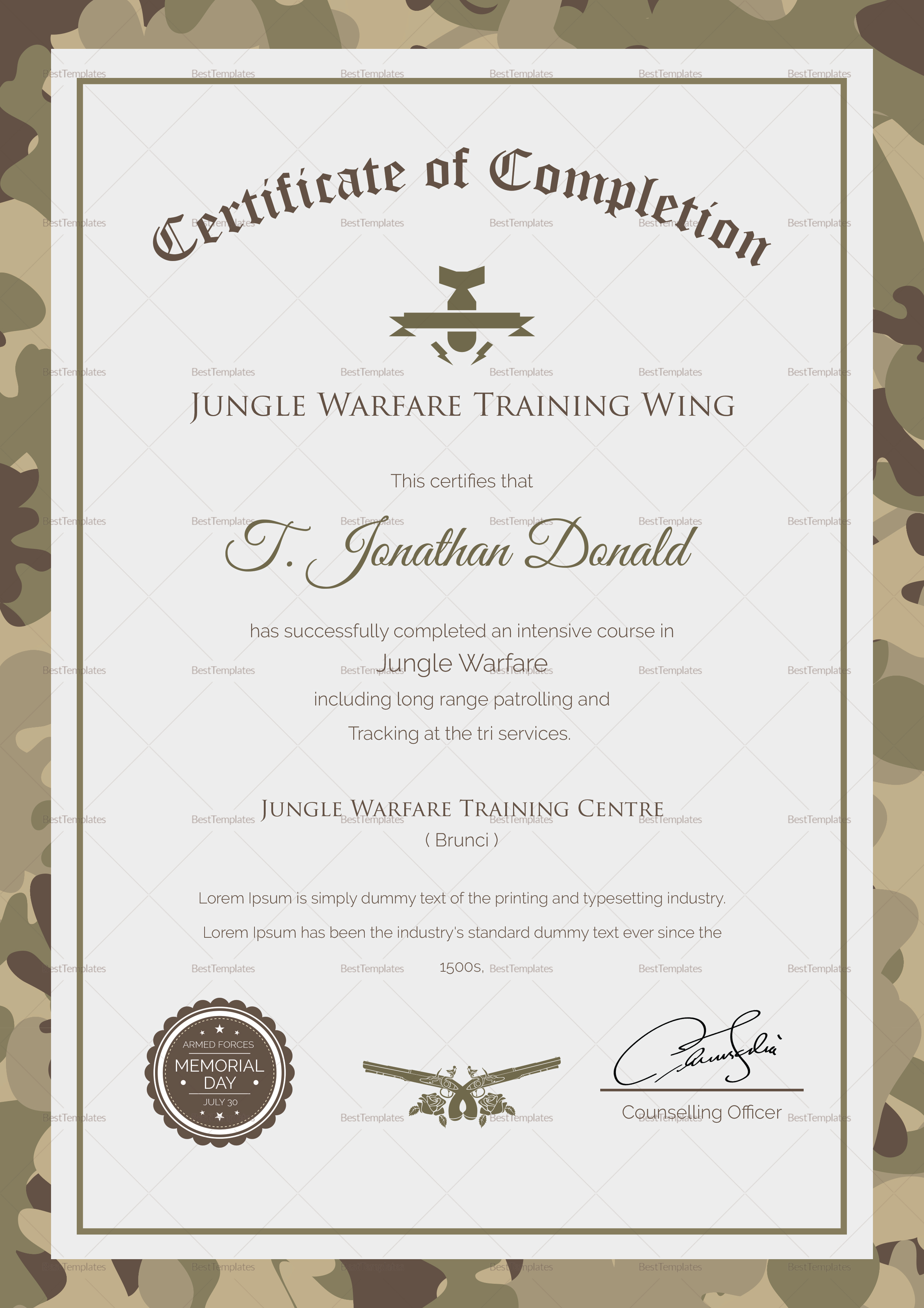 Army camo training completion certificate design template for Army certificate of completion template