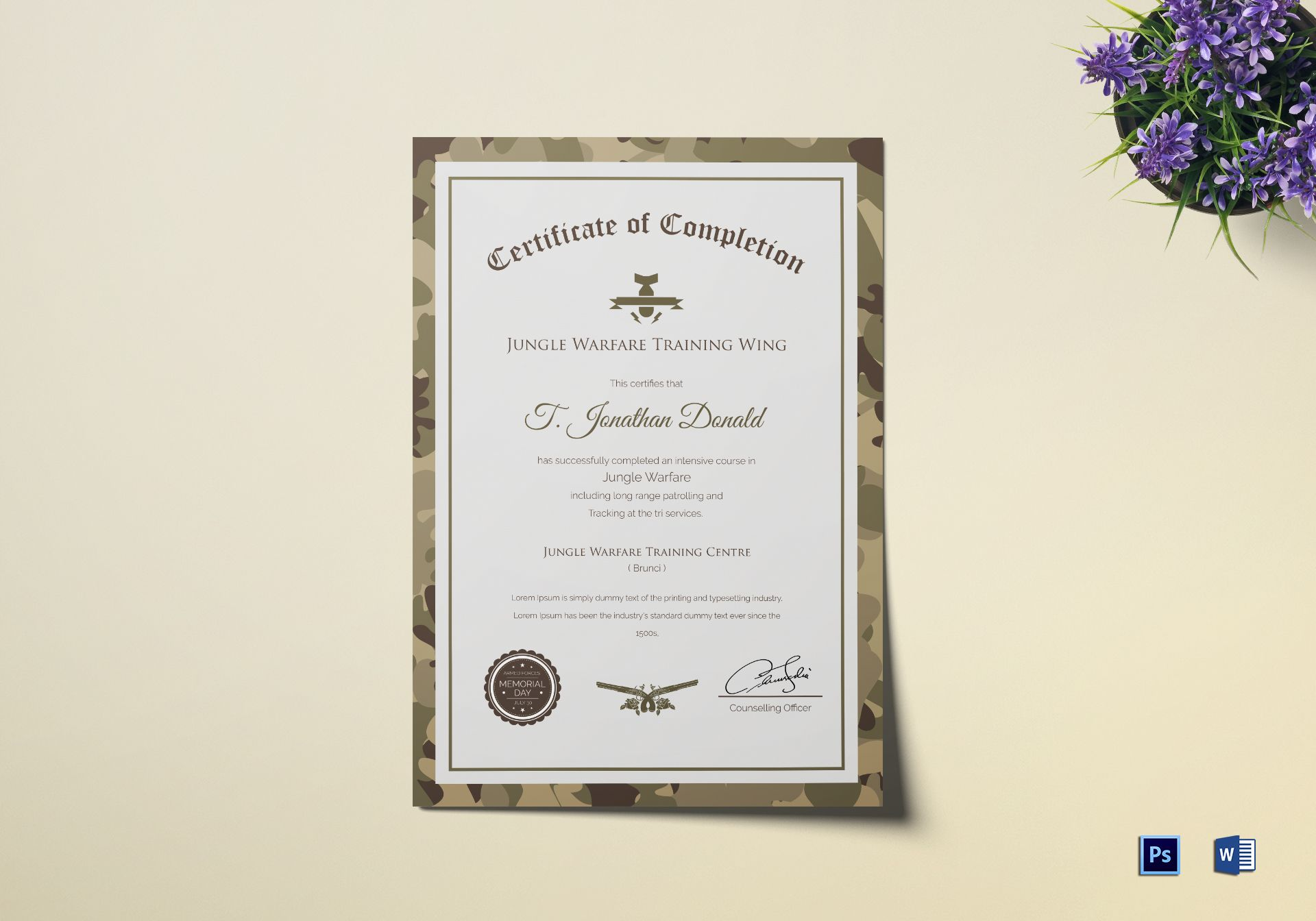 Army Camo Training Completion Certificate Design Template In Psd Word
