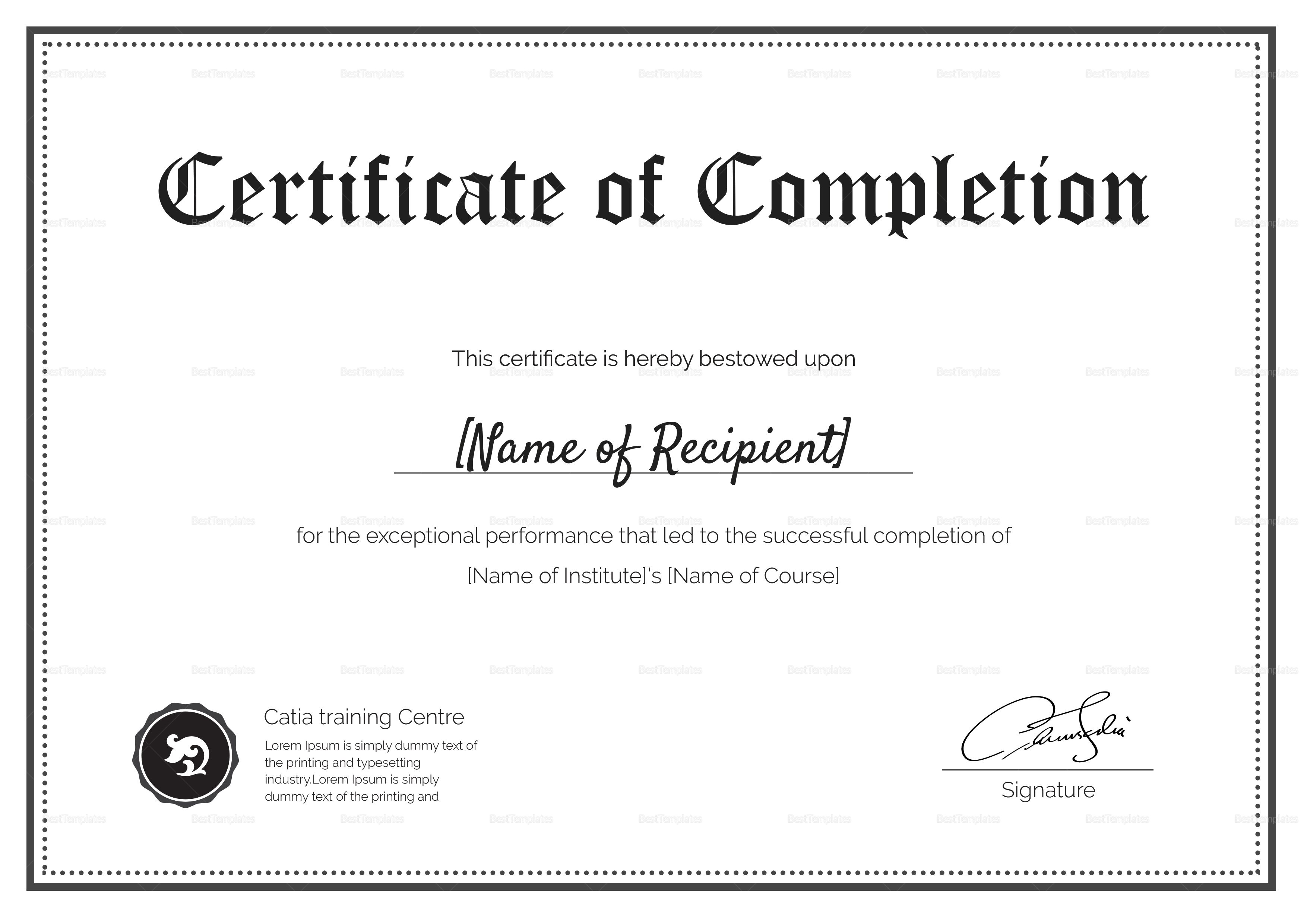 Blank Completion Certificate