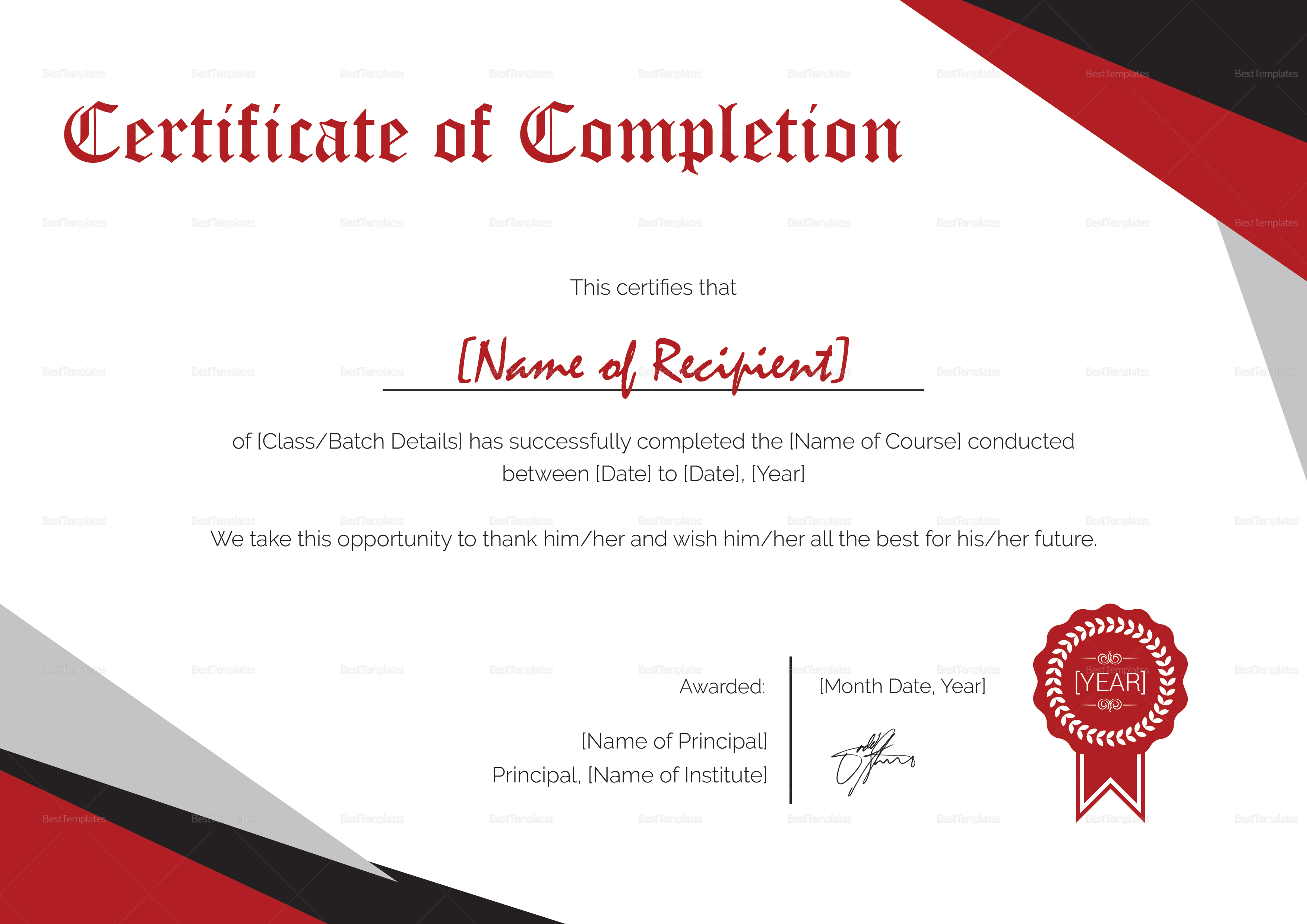 completion certificate modern template word besttemplates templates printable editable start sold