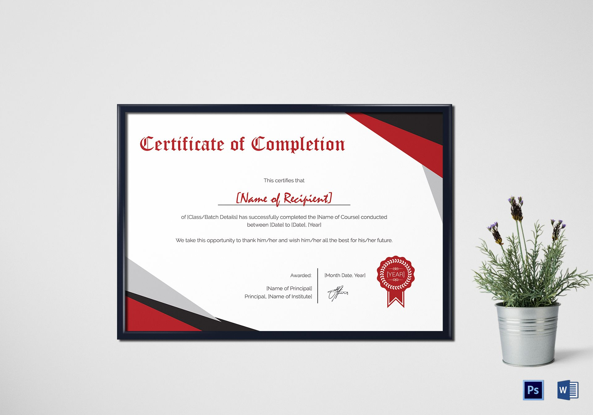 modern certificate of completion design template in psd  word