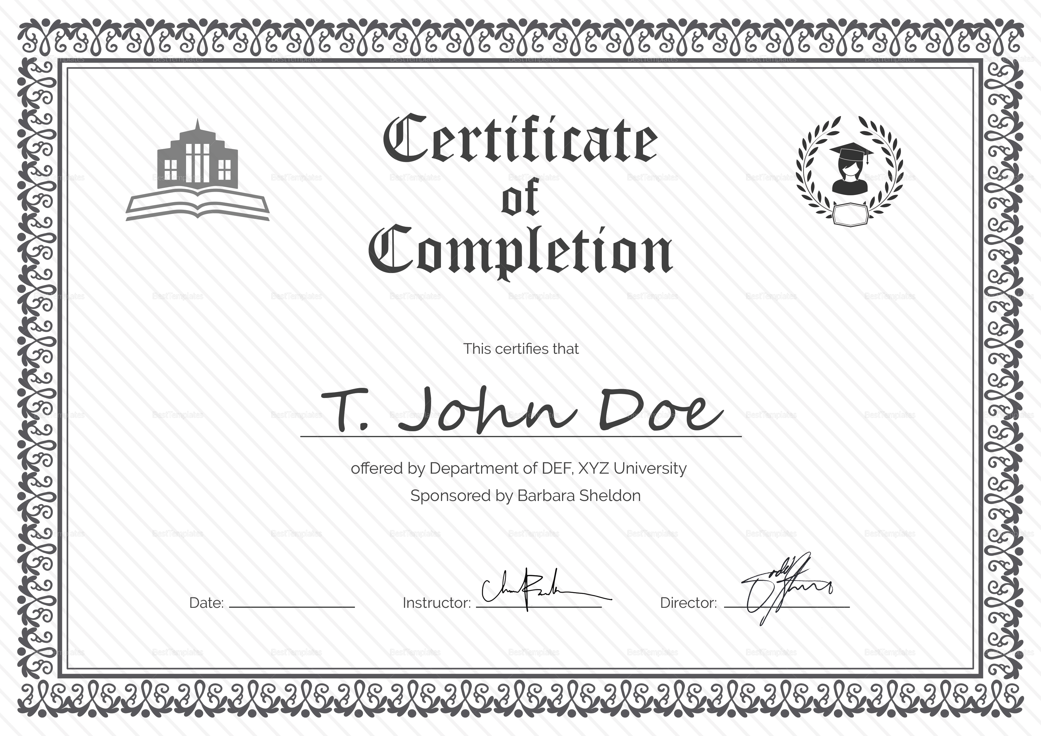 Certificate of completion template word office seating plan certificates of completion templates example of a receipt free certificate of completion eps format281 xflitez Gallery