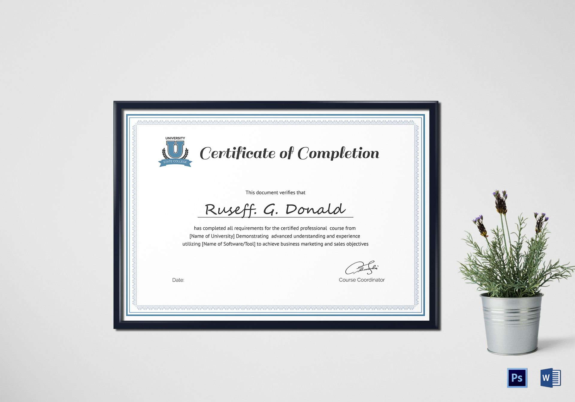 Professional course completion certificate design template in psd word course completion certificate course completion certificate yelopaper Image collections