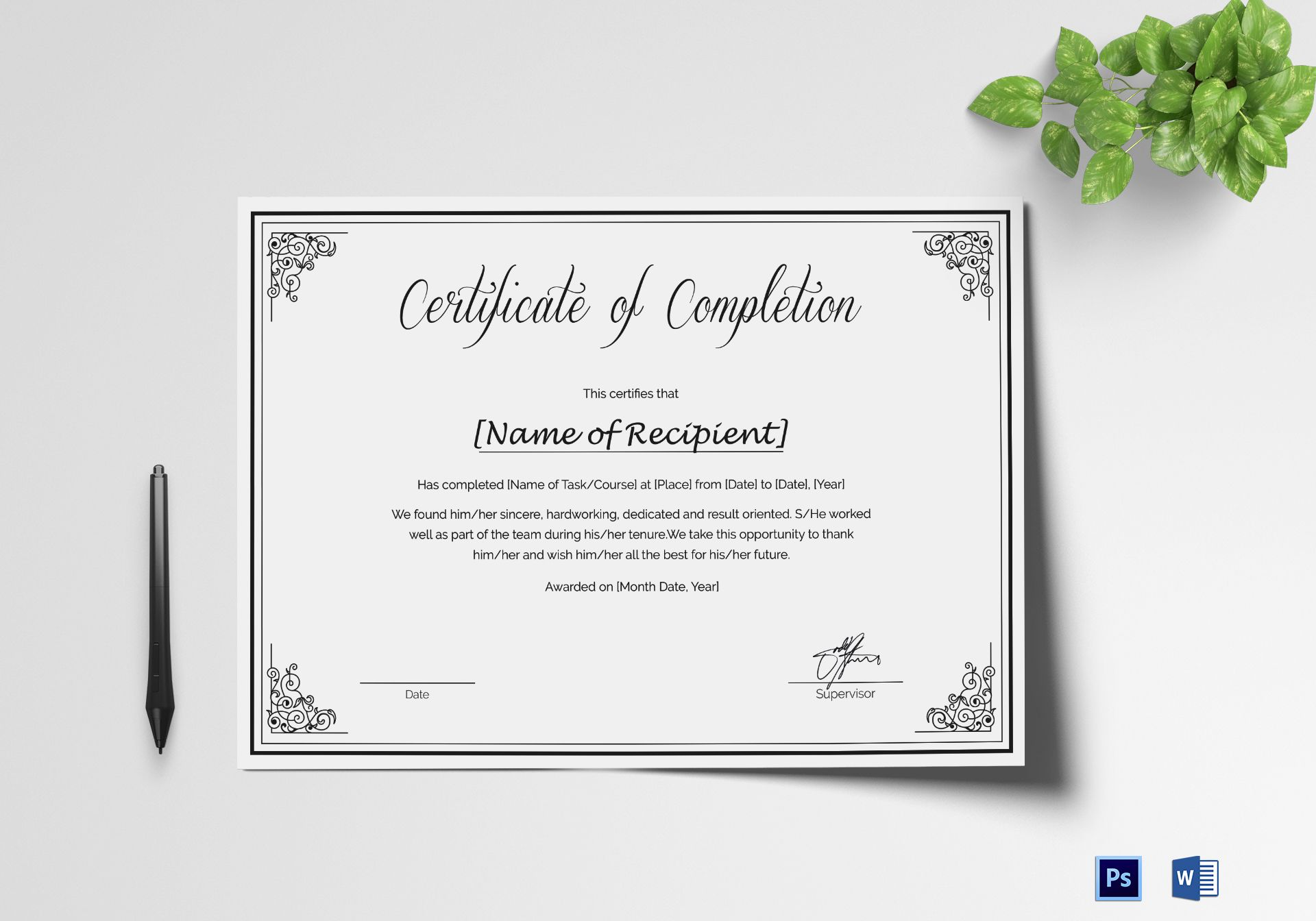 Custom Made Course Completion Certificate Design Template In Psd Word