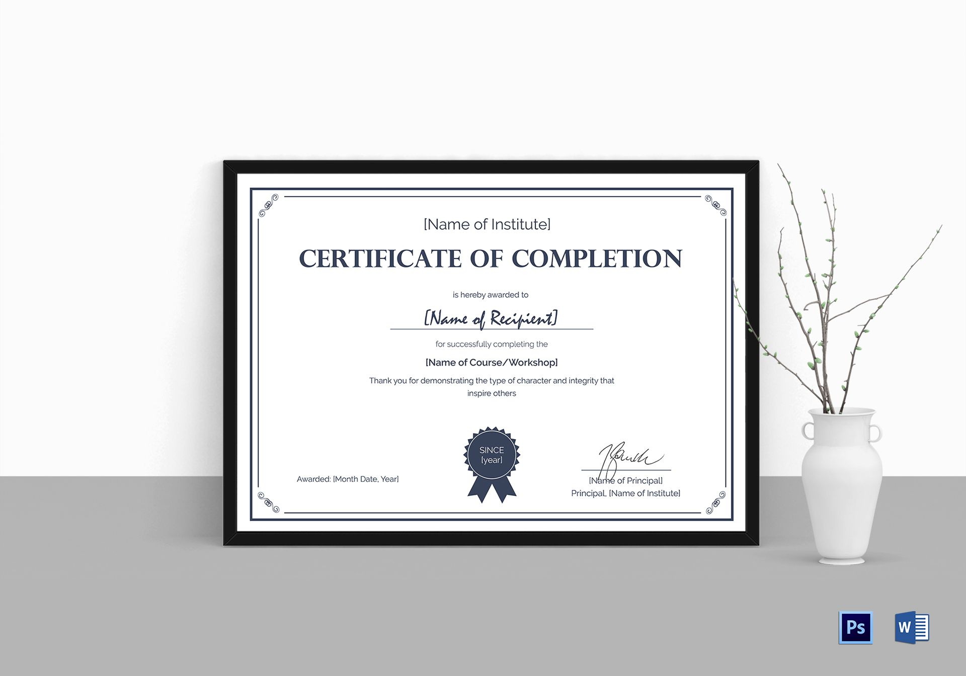 Formal completion certificate design template in psd word formal completion certificate formal completion certificate yelopaper Images