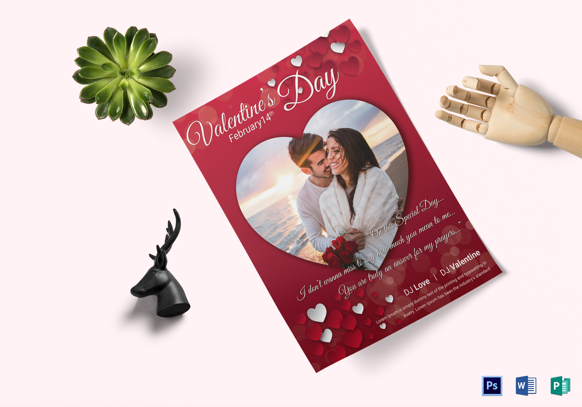 Lovely Valentine Day Flyer Design Template In Psd Word Publisher