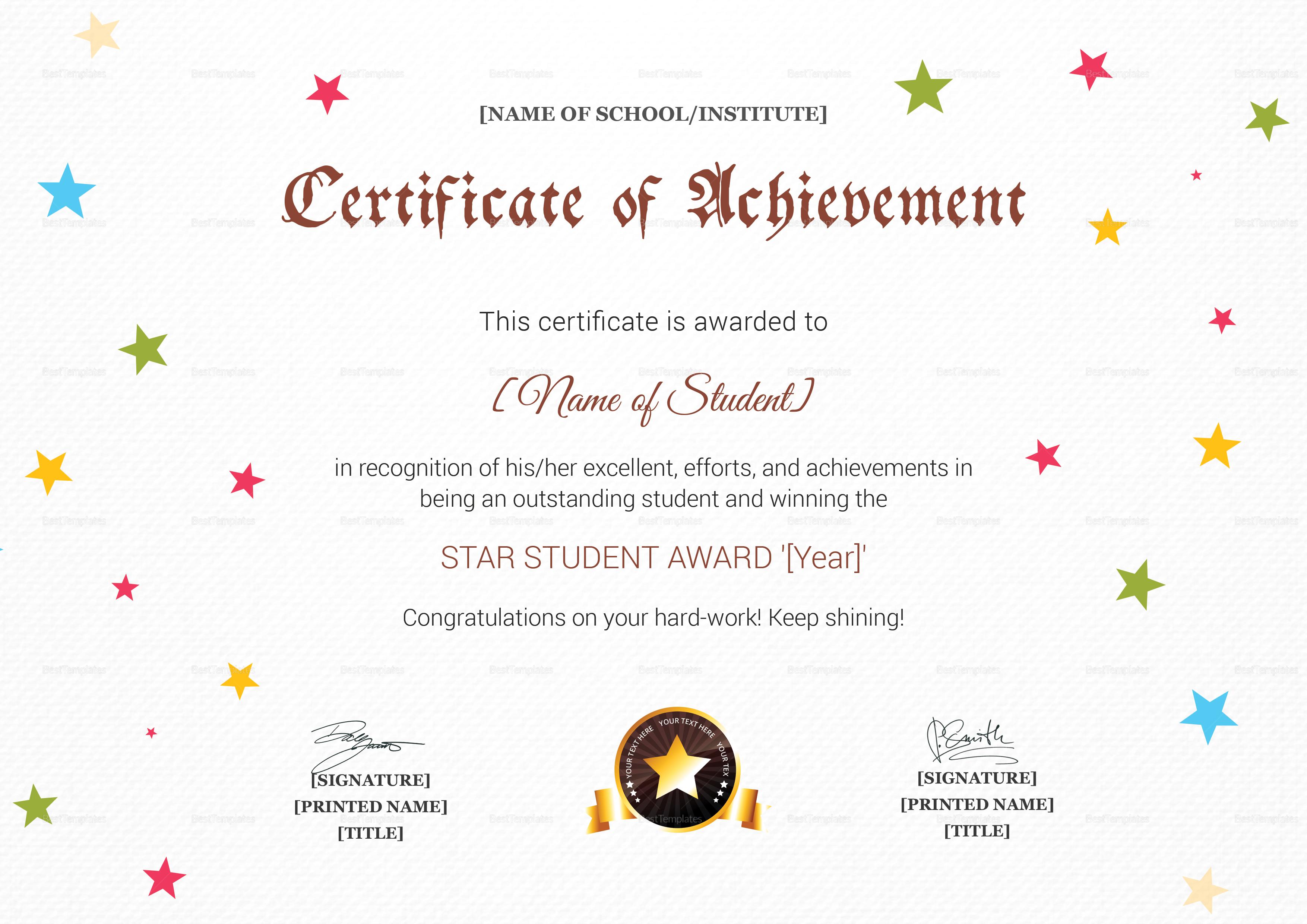 Star Achievement Award Certificate