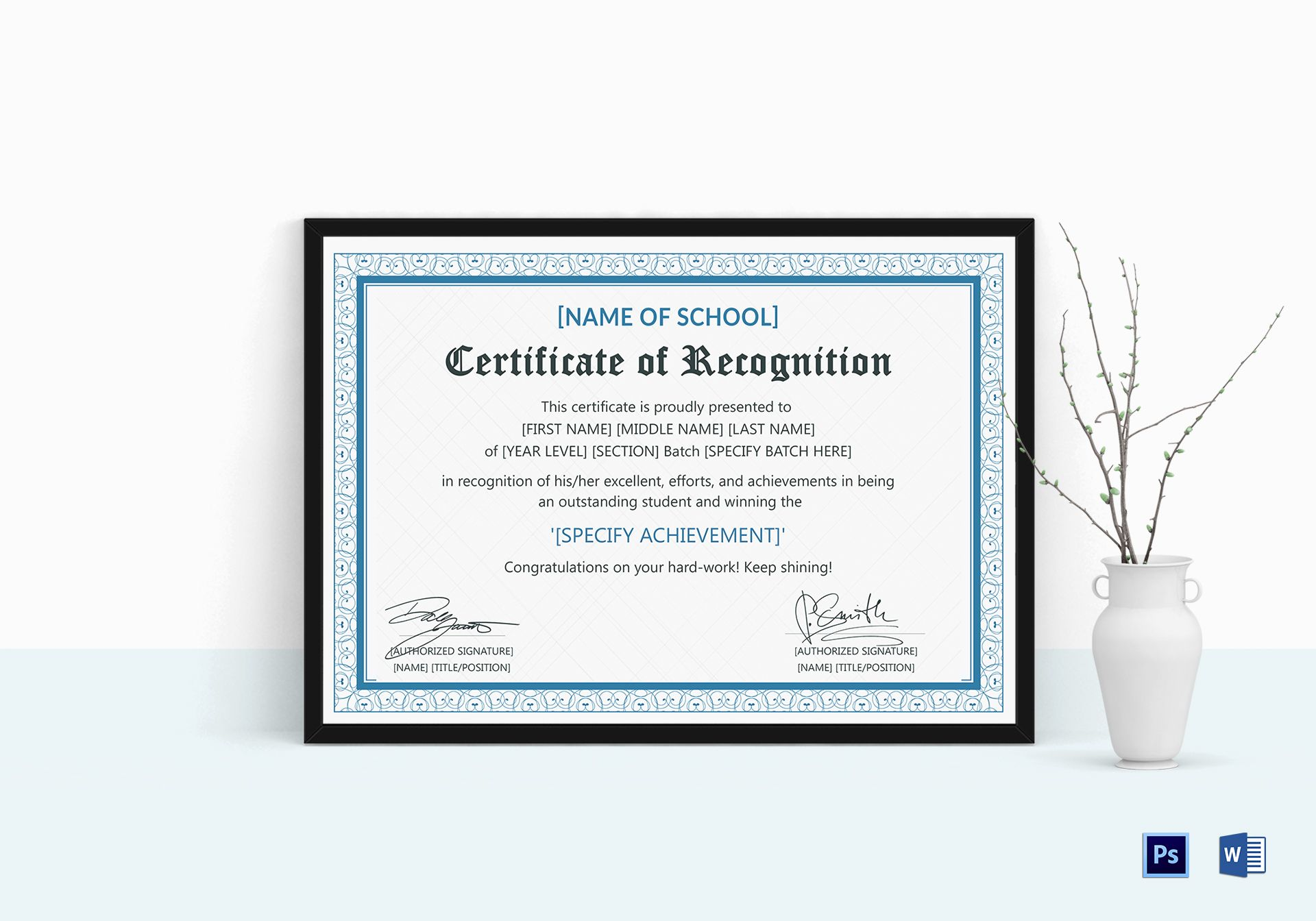 Outstanding Student Recognition Certificate Design Template In Psd Word